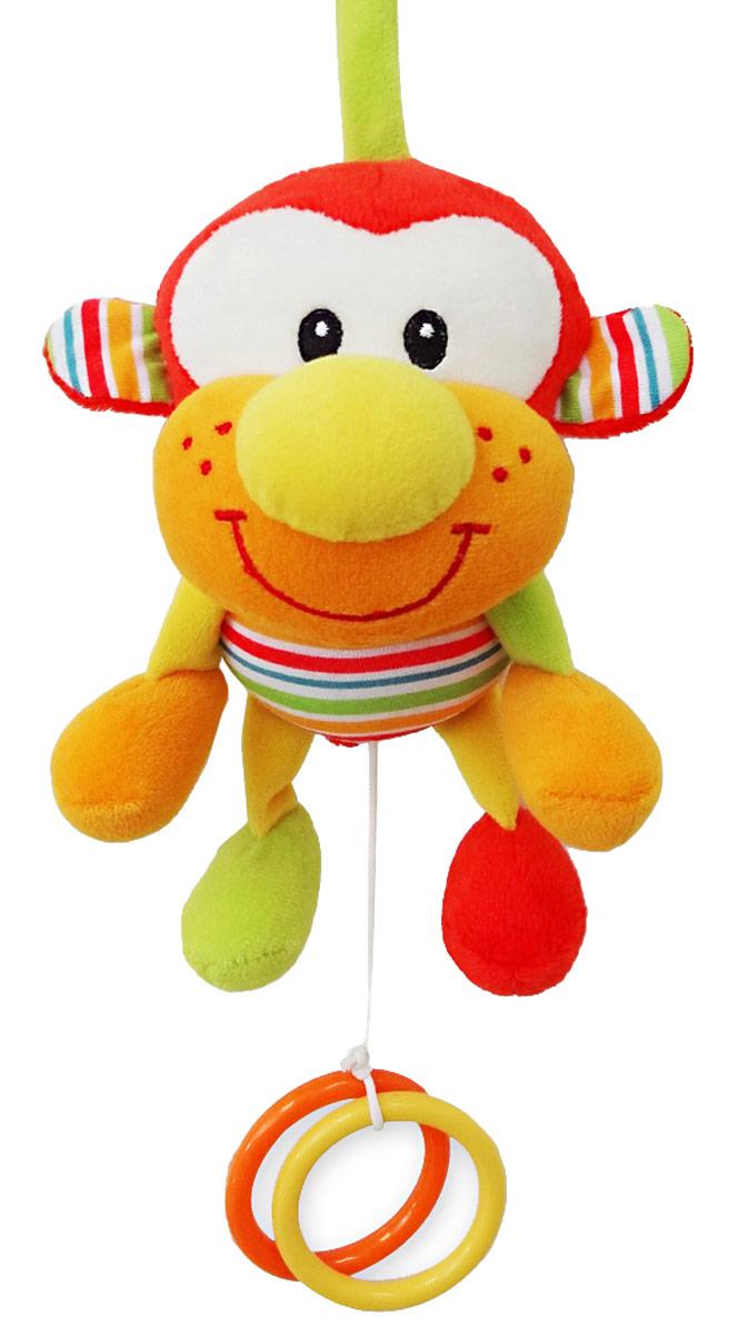 Mara Baby Игрушка-подвеска Обезьянка28749Развивающие игрушки учат малыша взаимодействовать с окружающим миром, знакомят со свойствами разных предметов, помогают развивать основные рефлексы (внимание, моторику рук, цветовое восприятие). Развивающая музыкальная игрушка Обезьянка выполнена из пластика и ткани, потянув за разноцветные колечки заиграет колыбельная. Игрушка привлекает внимание и способствует развитию слуха и зрения.
