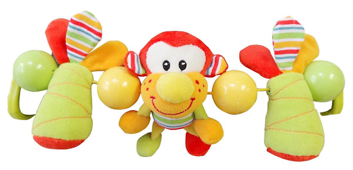 Ути-Пути Игрушка-подвеска Обезьянка28753Развивающие игрушки учат малыша взаимодействовать с окружающим миром, знакомят со свойствами разных предметов, помогают развивать основные рефлексы (внимание, моторику рук, цветовое восприятие). Развивающая игрушка подвеска Обезьянка вешается на кроватку или коляску при помощи пластиковых колец. Подвеска с яркими шариками и шуршащими элементами. Игрушка привлекает внимание и способствует развитию слуха и зрения.