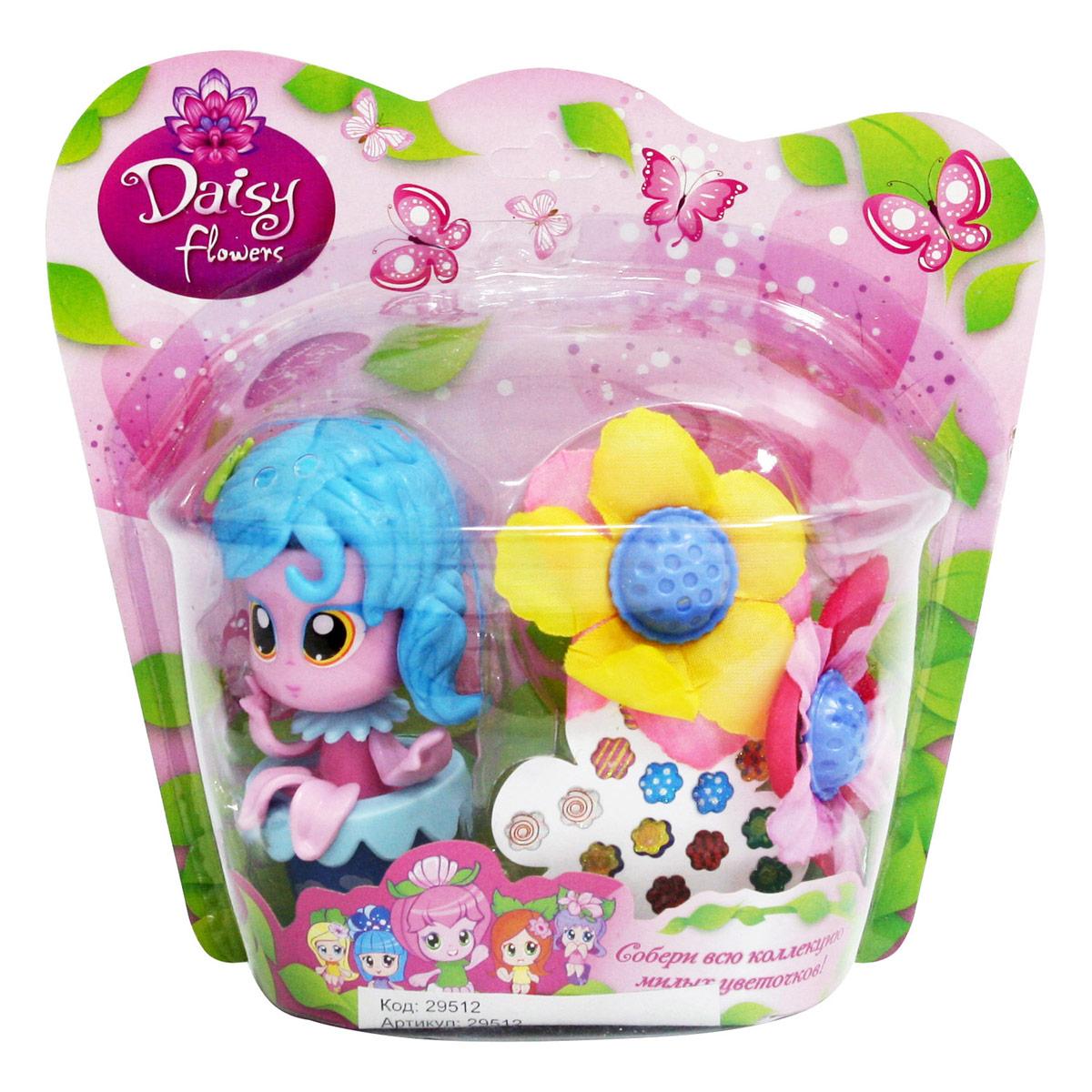 Daisy Игровой набор с куклой Цветочек с аксессуарами 2951229512Куклы-цветочки Daisy Flowers в наборах с яркими аксессуарами, наклейками, забавными питомцами и даже домом-лейкой! Милые куколки-цветочки - это разноцветные разборные игрушки, которые могут меняться между собой прическами, цветочными шляпками и аксессуарами. В ассортименте разные виды наборов: можно выбрать комплект кукол с аксессуарами, со сказочным питомцем, или даже c домом-лейкой и мини-мебелью. Куколки-цветочки можно наряжать, меняя их образы, брать с собой в дорогу или в гости! Собери коллекцию и подружи куколок между собой!