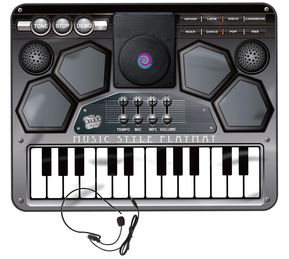 Ami&Co Игровой коврик музыкальный Синтезатор с микшеромSLW9828Музыкальный коврик Amico – это увлекательная игрушка для подвижных игр. Она способствуют всестороннему развитию ребенка, сочетая в себе элементы игры, танца и спорта. Коврики реагируют на прикосновения и содержат несколько интерактивных игр, сопровождающихся веселой музыкой и звуками. Почувствуй себя настоящим ди-джеем! Нажимай на клавиши и создавай дополнительные звуковые эффекты, которые накладываются на основную мелодию. Возможно добавить звучание восьми различных инструментов и звуковых эффектов, а подключив к коврику CD/MP3 плеер и микрофон можно менять свои любимые мелодии. 8 инструментов, регулируемая громкость и темп, караоке, возможность подключения CD/MP3 плеера, музыкальные спецэффекты, микрофон и наушники в комплекте, автоматическое отключение.