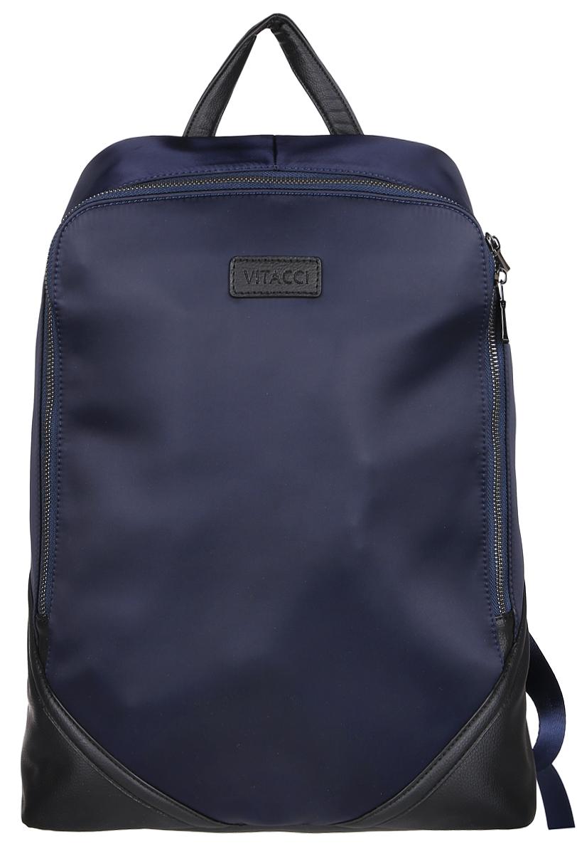 Рюкзак мужской Vitacci, цвет: темно-синий. MW077MW077Стильный мужской рюкзак Vitacci идеально подойдет под ваш образ. Он выполнен из качественной комбинированной искусственной кожи. Изделие оформлено нашивкой с названием фирмы. Внутри расположено главное отделение, которое состоит из одного кармана на молнии для мелочей, небольшого открытого кармана и вшитого открытого отделения. Рюкзак оснащен широкими лямками, длина которых регулируется с помощью пряжек. Такой модный и удобный рюкзак станет незаменимым аксессуаром в вашем гардеробе.