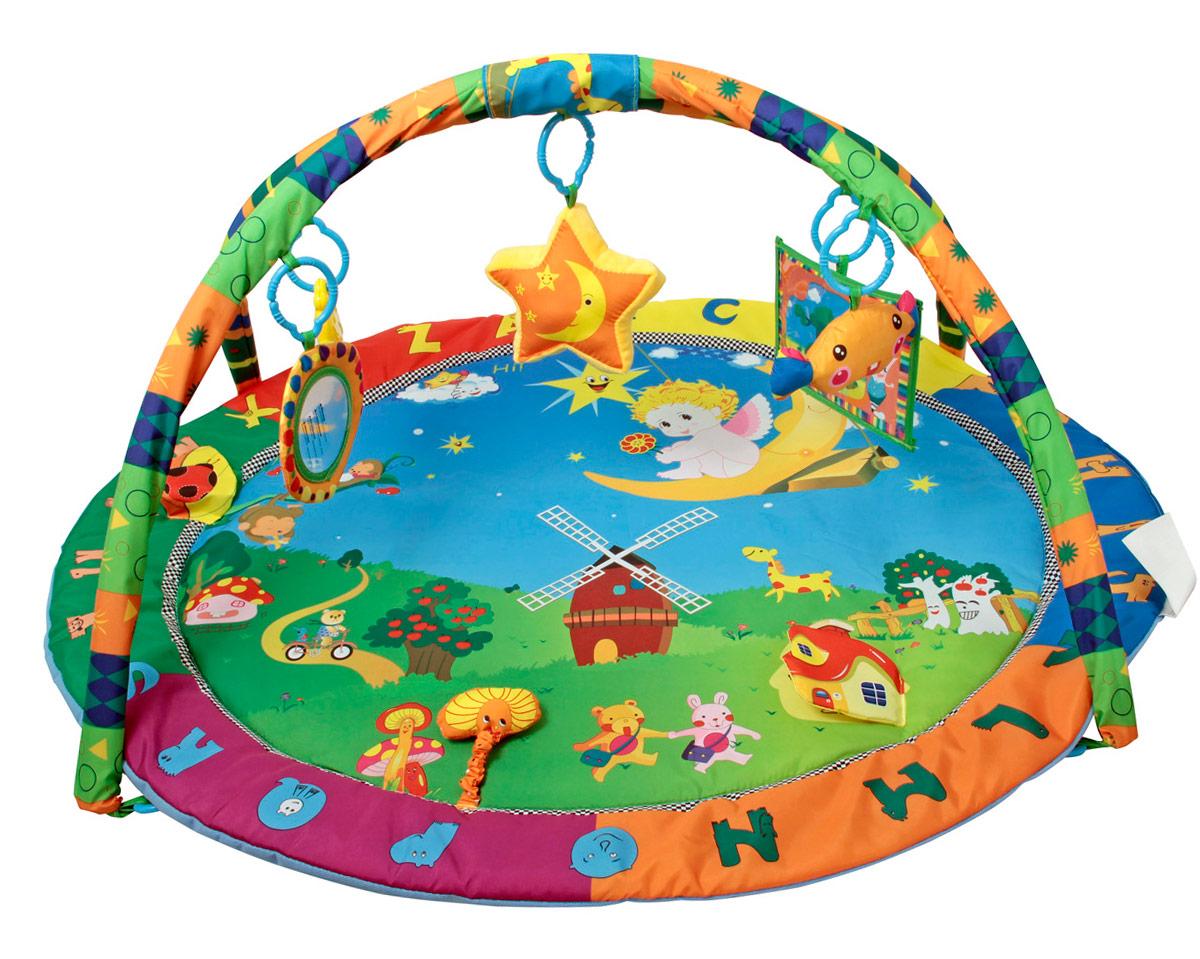 Ути-Пути Развивающий коврик Счастливый ангел25991Особенности: в комплекте - коврик, две игровые дуги, пять игрушек-подвесок: мягкое панно, куда легко можно вставить картинку, мягкая конфета-шуршалка, круглое зеркальце, светящаяся музыкальная звездочка, утенок-погремушка. На коврике имеются активные зоны-шуршалки - листики и грибок, домик с мишкой. Коврик овальной формы, по краям - объемный кант, в оформлении использована сказочная тематика. Высота дуг 48 см.