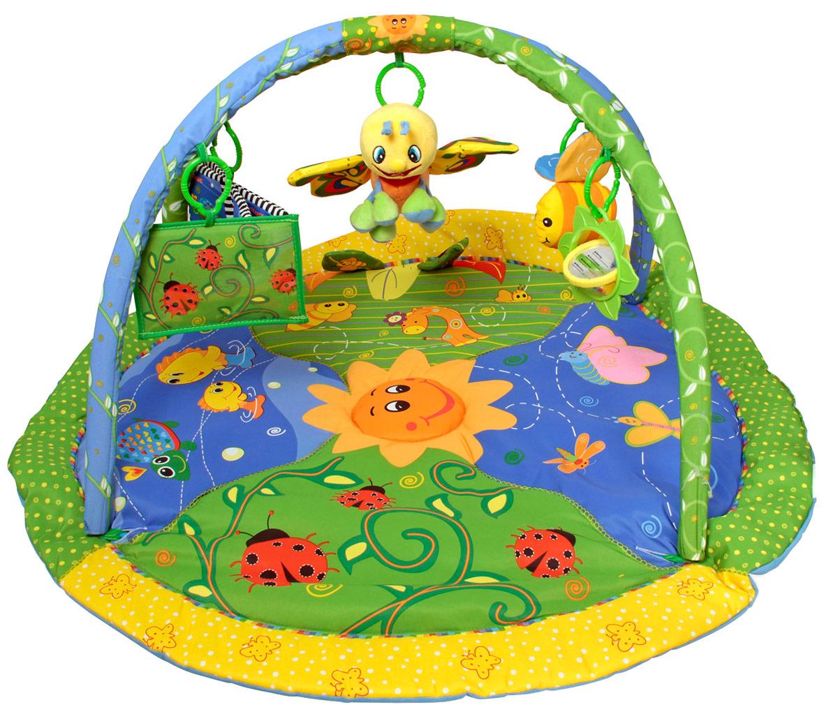 Ути-Пути Развивающий коврик Цветущий сад25992Особенности: в комплекте - овальный коврик , по краям которого - объемный кант контрастного цвета, две игровые дуги, четыре игрушки-подвески: круглое зеркальце, тканевая пчелка с шуршащими элементами, мягкая книжка, музыкальная бабочка. Высота дуг 45 см.