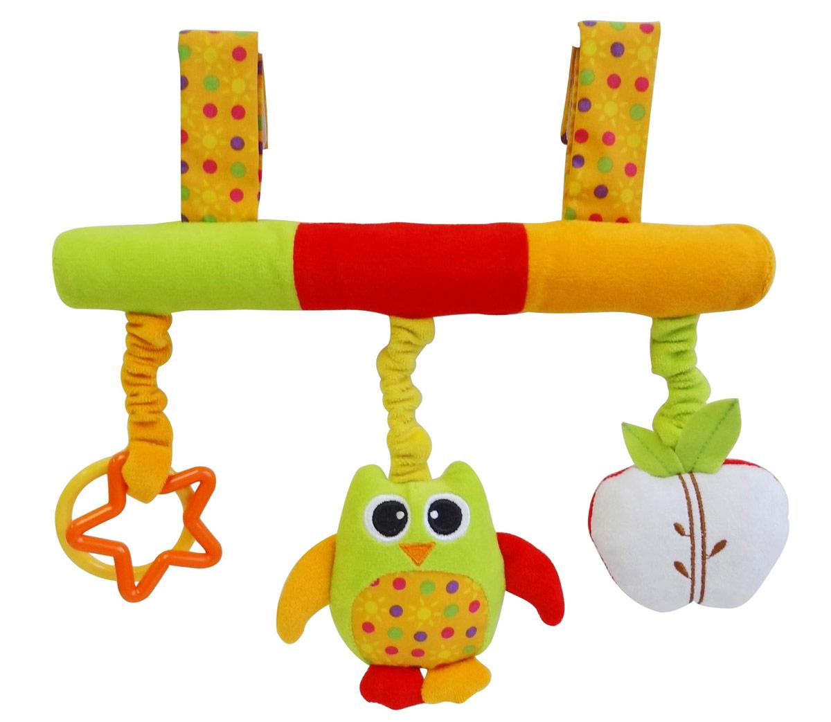 Ути-Пути Игрушка-подвеска Сова38891Игрушки «Ути-пути» несут развлекательный и обучающий характер. Они учат малыша взаимодействовать с окружающим миром, знакомят со свойствами разных предметов, помогают развивать основные рефлексы (внимание, моторику рук, цветовое восприятие). Развивающая игрушка подвеска Сова вешается на кроватку или коляску при помощи липучек. На подвеске есть яблоко шуршалка, Сова погремушка и пластиковые фигурки. Игрушка привлекает внимание и способствует развитию слуха и зрения.