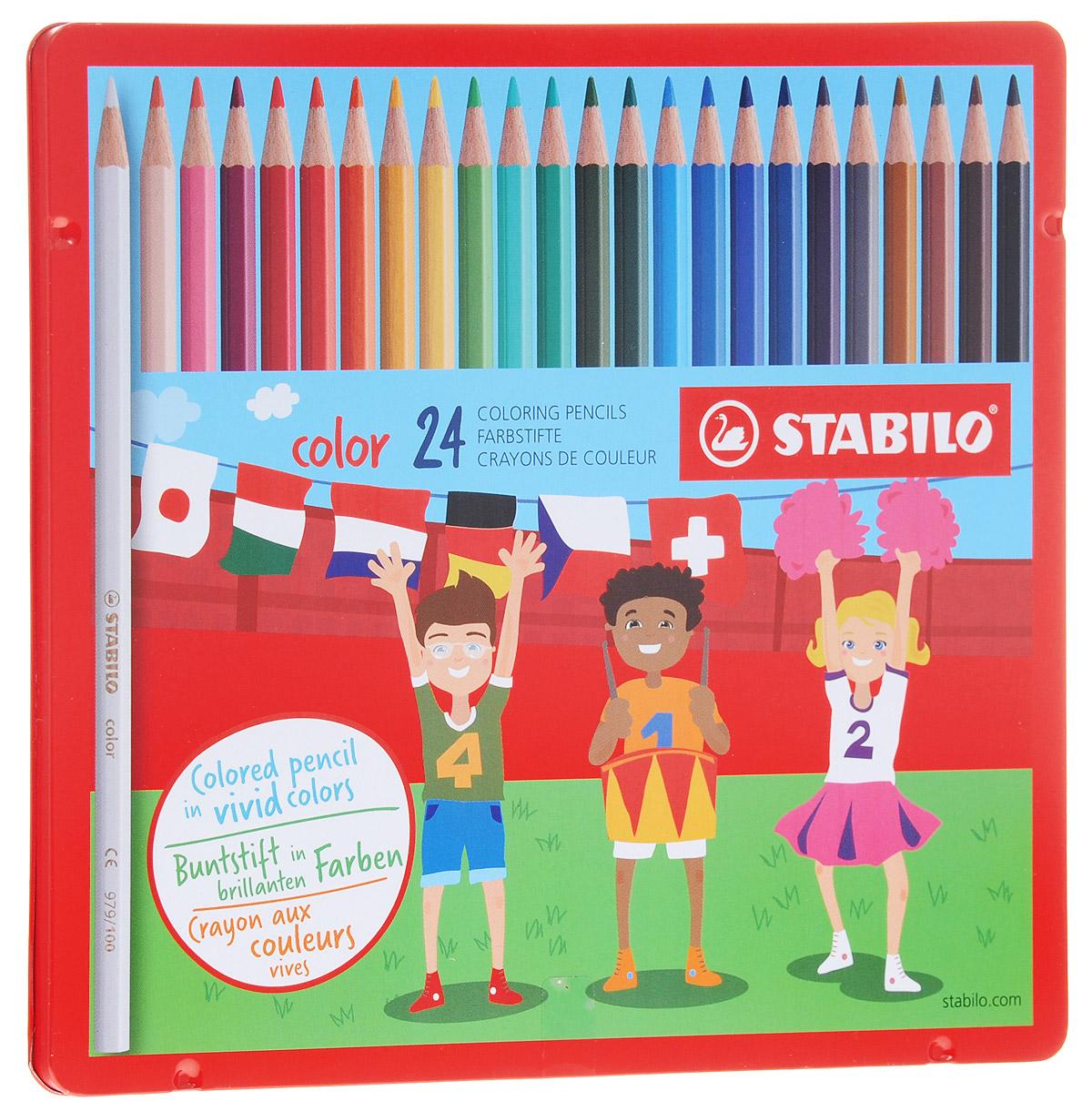 Stabilo Набор цветных карандашей Color 24 шт1824-77Серия цветных карандашей STABILO color в металлических футлярах. Широкая гамма цветов, которые отлично смешиваются и позволяют создавать огромное количество оттенков. Насыщенные цвета имеют высокую светостойкость. Мягкий грифель легко рисует на бумаге, не царапая ее и не крошась. Карандаши не ломаются при рисовании и затачивании.