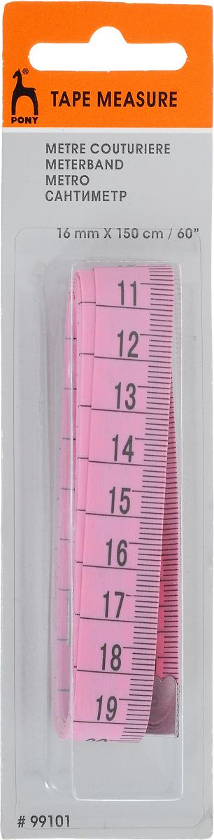 Сантиметр Pony, цвет: розовый, 16 мм/150 см. 9910199101_розовый