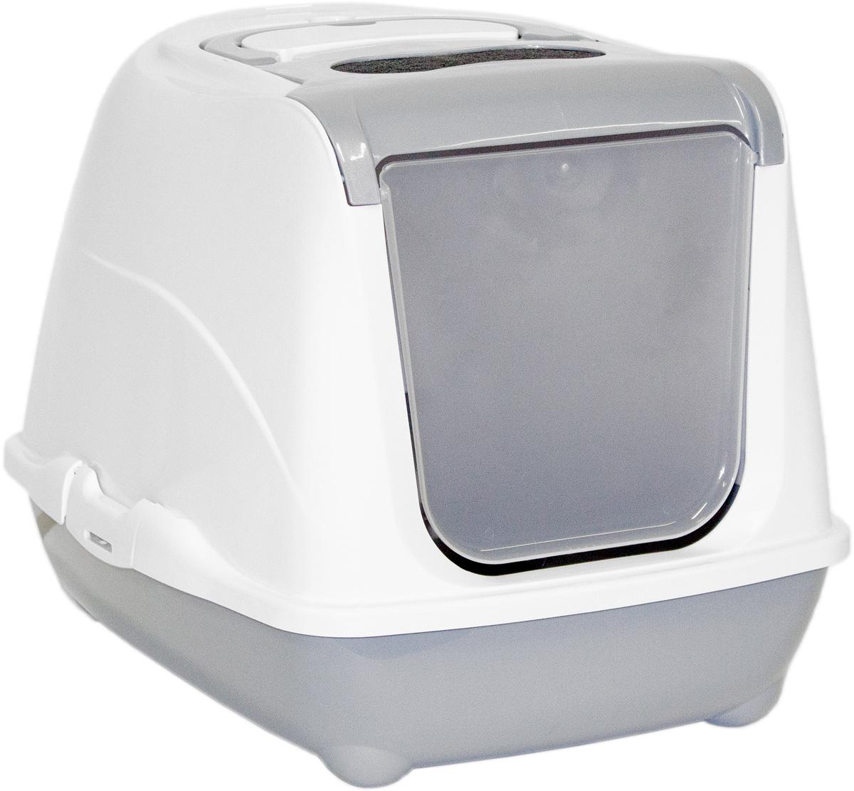 Туалет закрытый для кошек Moderna Flip Cat, цвет: серый, 39х50х37 см14C230026