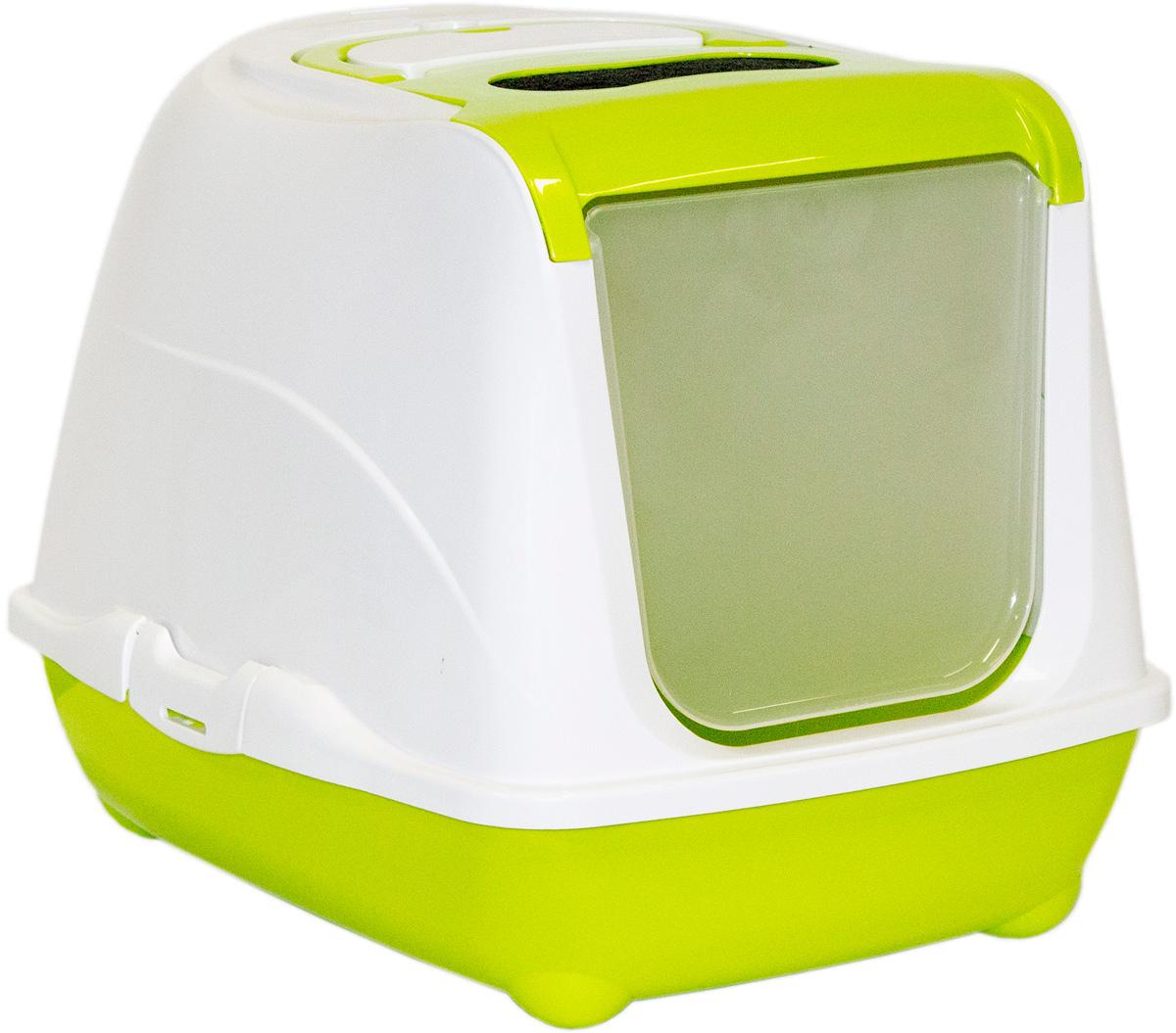 Туалет закрытый для кошек Moderna Flip Cat, цвет: зеленый, 39х50х37 см14C230173
