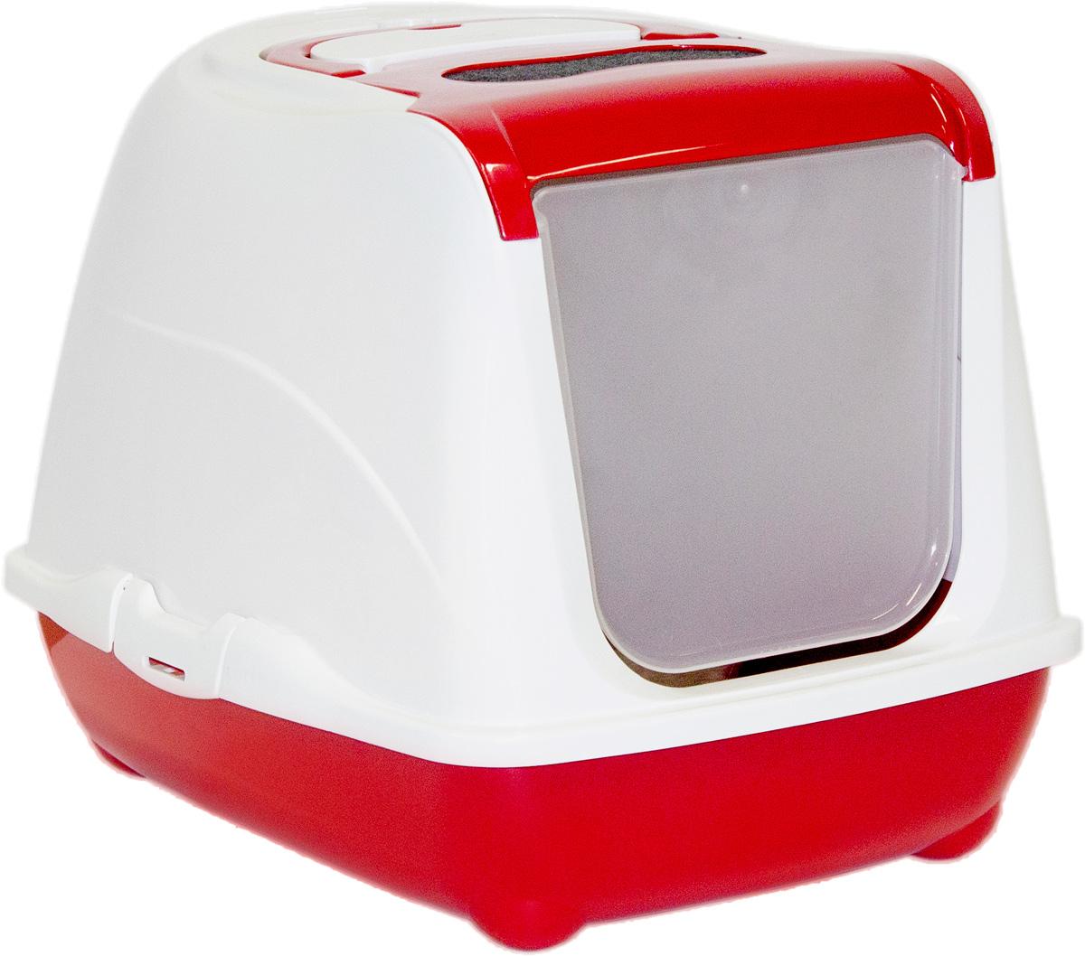 Туалет закрытый для кошек Moderna Flip Cat, цвет: бордовый, 39х50,4х37,4 см14C230202