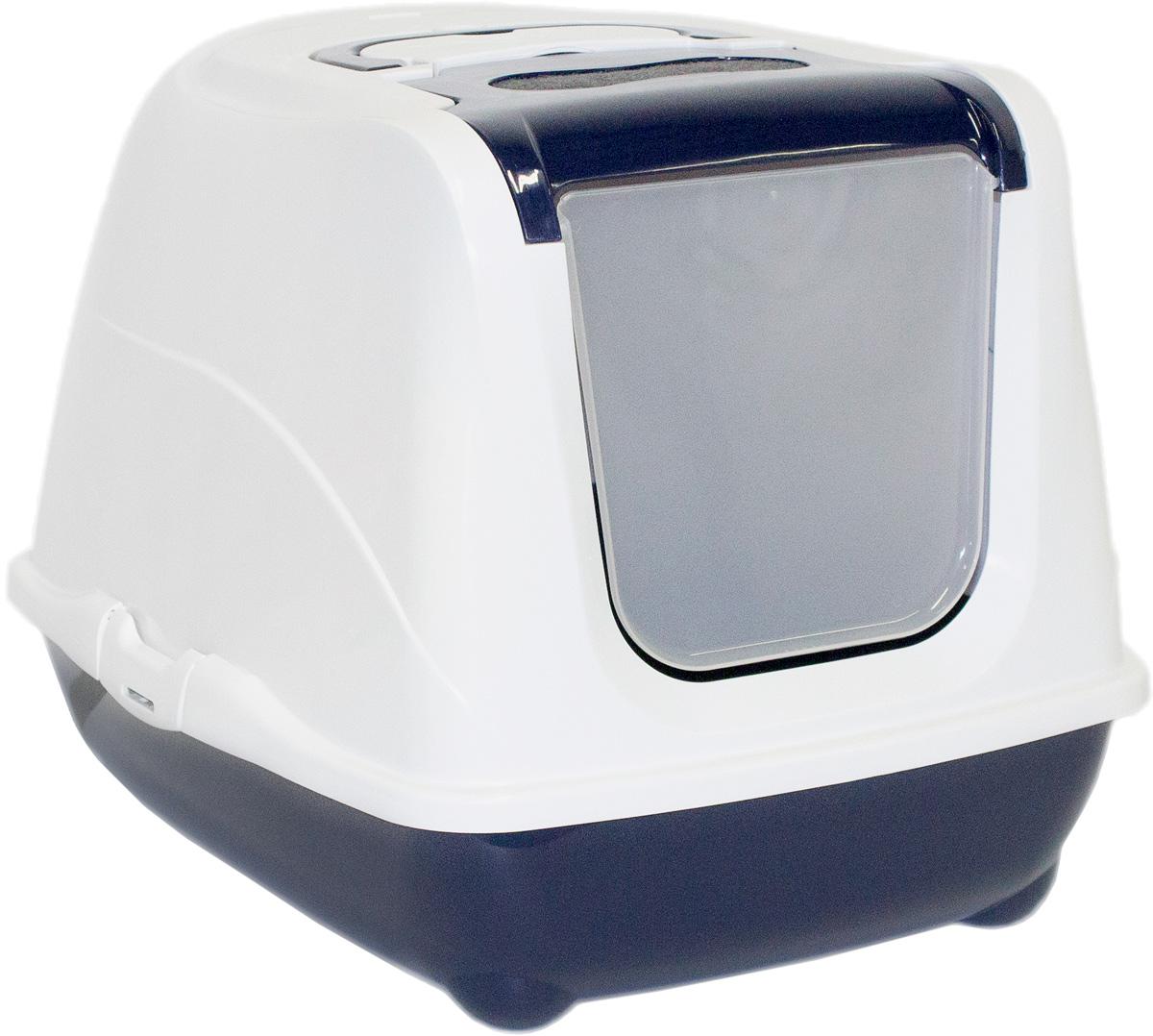Туалет закрытый для больших кошек Moderna Flip Cat, цвет: темно-синий, 58х45х42 см14C240021