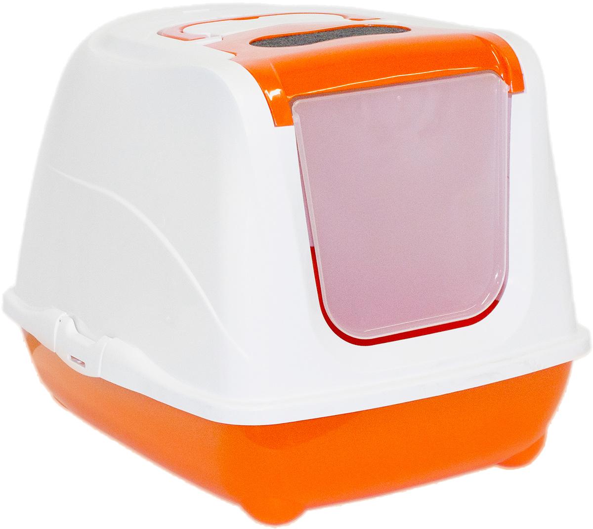 Туалет закрытый для больших кошек Moderna Flip Cat, цвет: оранжевый, 58х45х42 см14C240148
