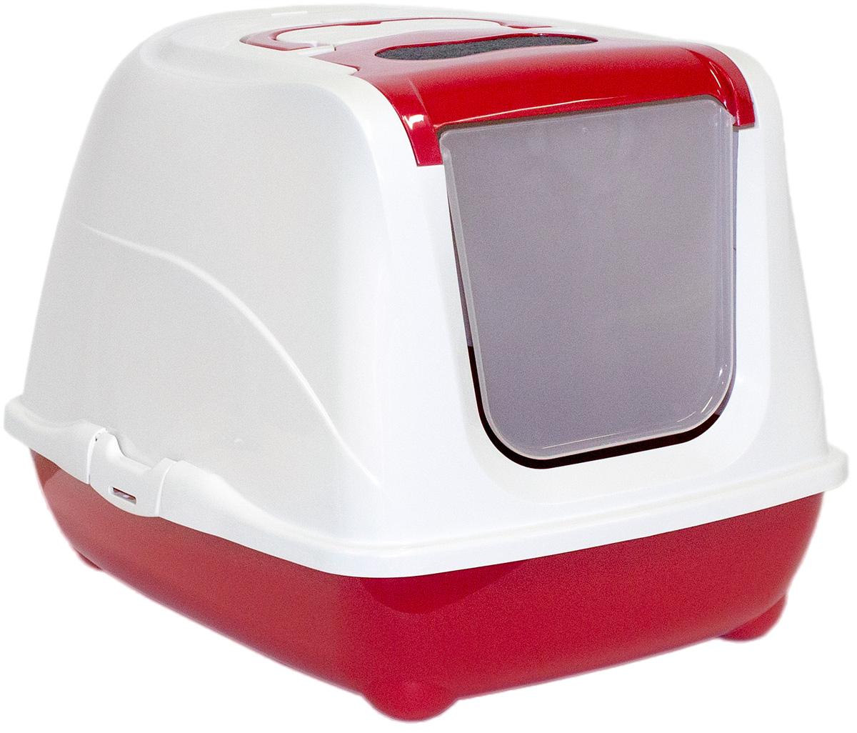 Туалет закрытый для больших кошек Moderna Flip Cat, цвет: бордовый, 58х45х42 см14C240202