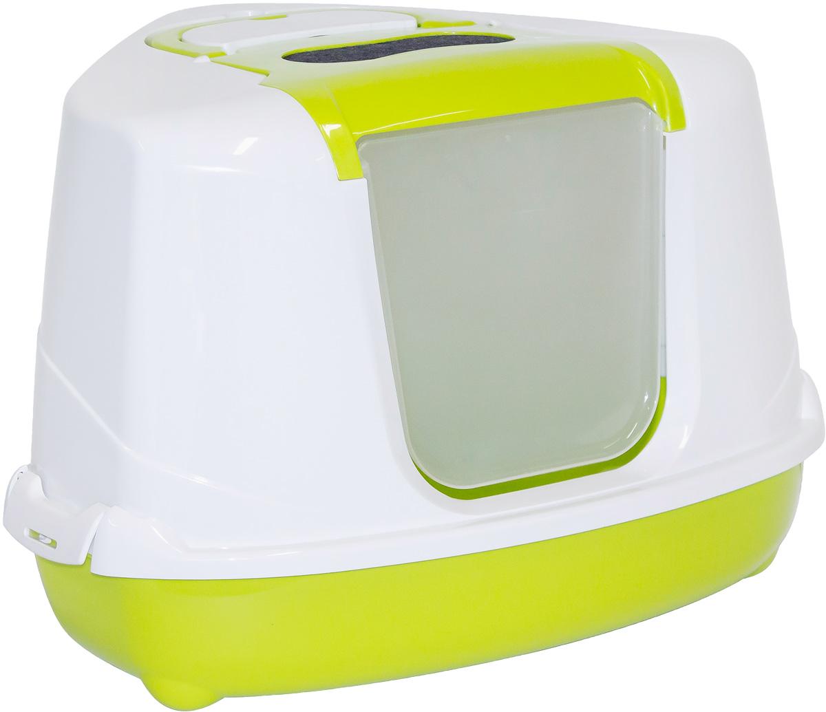 Туалет угловой закрытый для кошек Moderna Flip Corner, цвет: зеленый, 56х45х39 см14C250173
