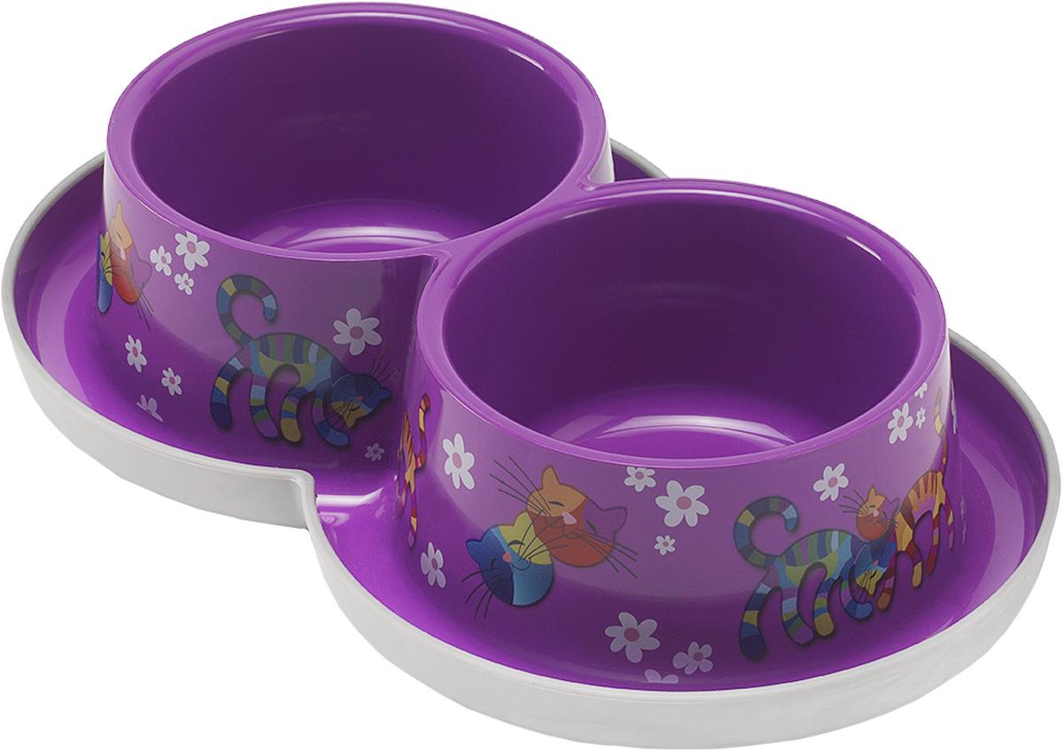 Миска для кошек Moderna Trendy Dinner. Друзья Навсегда, цвет: фиолетовый, 350 мл14H136157Удобная и оригинальная двойная миска для кошек Moderna Trendy Dinner. Друзья Навсегда выполнена из пищевого пластика с нескользящим дном. Можно использовать для воды и корма одновременно. Миска устойчива и не переворачивается. Высококачественная полировка, устойчива к деформации. Можно мыть в посудомоечной машине. Объем одной миски: 350 мл. Диаметр одной миски (по верхнему краю): 11 см. Высота миски: 6 см. Размер изделия: 27 х 16 х 6 см.