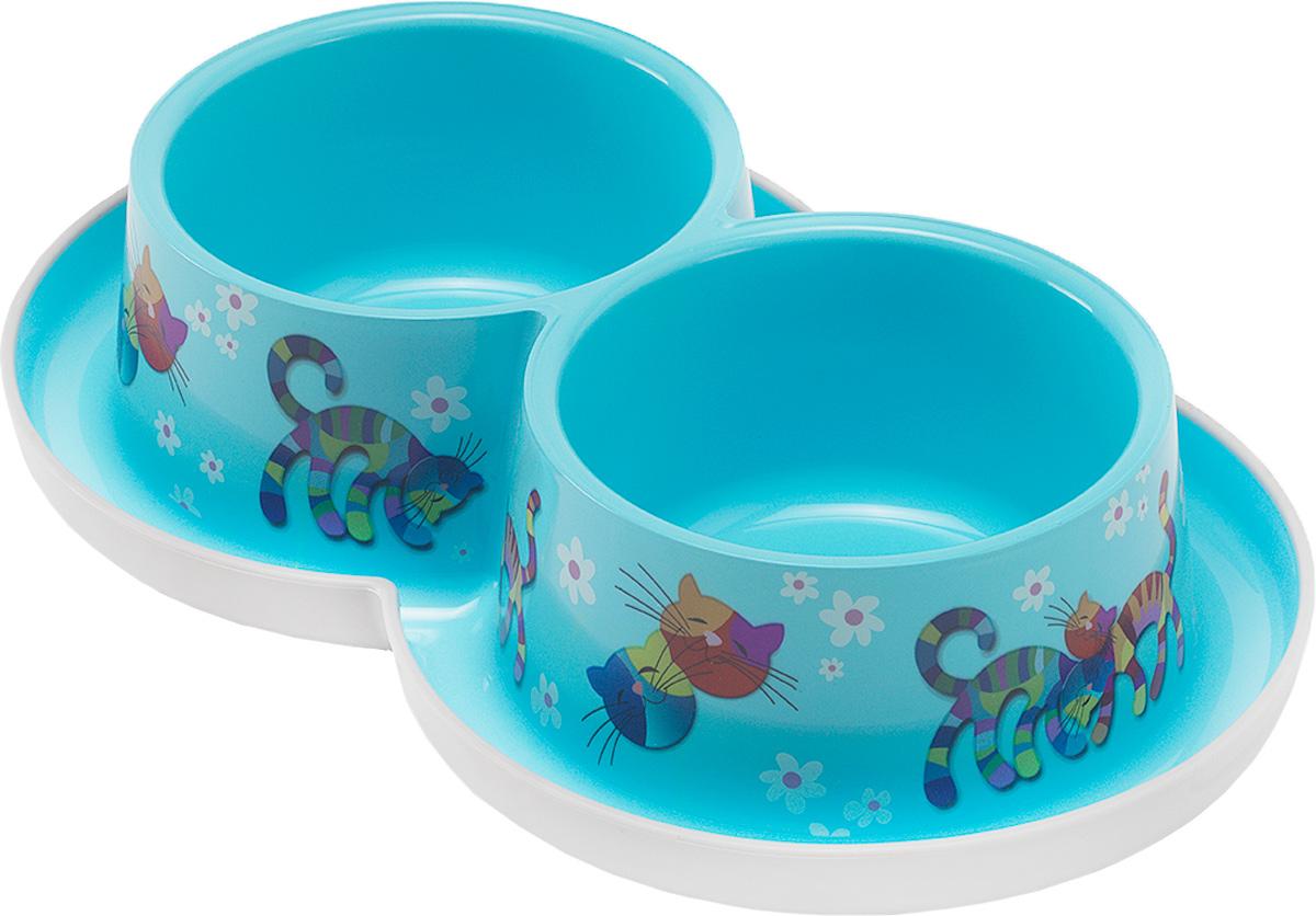 Миска для кошек Moderna Trendy Dinner. Друзья Навсегда, цвет: голубой, 350 мл14H136181Удобная и оригинальная двойная миска для кошек Moderna Trendy Dinner. Друзья Навсегда выполнена из пищевого пластика с нескользящим дном. Можно использовать для воды и корма одновременно. Миска устойчива и не переворачивается. Высококачественная полировка, устойчива к деформации. Можно мыть в посудомоечной машине. Объем одной миски: 350 мл. Диаметр одной миски (по верхнему краю): 11 см. Высота миски: 6 см. Размер изделия: 27 х 16 х 6 см.