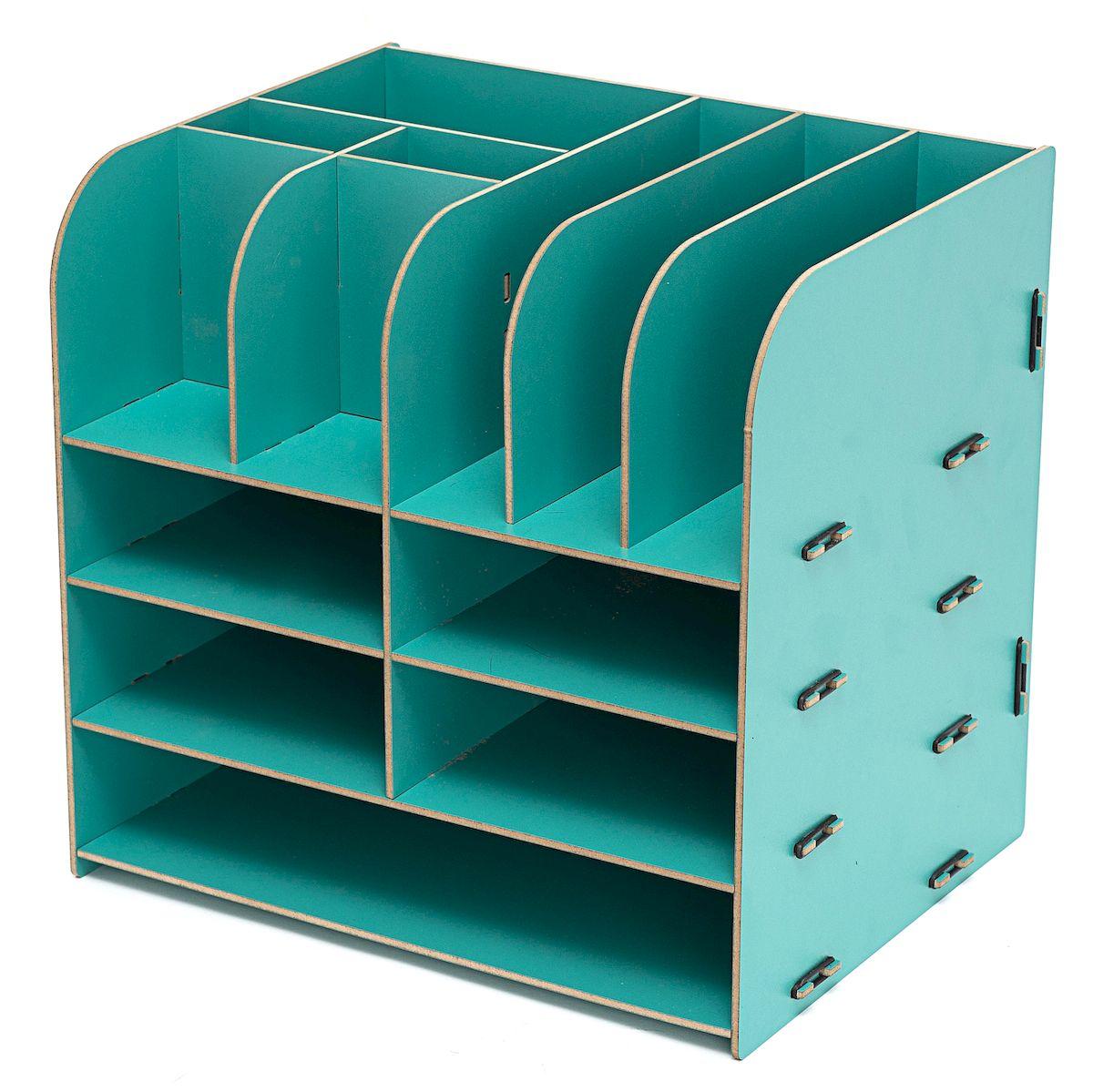 Органайзер Homsu, цвет: бирюзовый, 32,5 x 25 x 30 смHOM-340Этот настольный органайзер просто незаменим на рабочем столе, он вместителен, его размеры впечатляют - 32.5 см на 25 см на 30 см и в то же время он не занимает много места. Яркий дизайн дополнит интерьер дома и разбавит цвет в скучном сером офисе. Он изготовлен из МДФ и легко собирается из съемных частей. Имеет одно отделение для хранения документов и множество ячеек для хранения канцелярских предметов и всяких мелочей. Фактический цвет может отличаться от заявленного.
