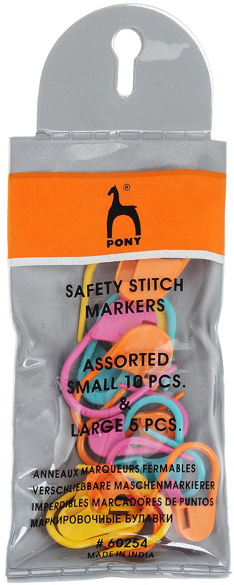 Булавки маркировочные Pony, 15 шт60254Булавки маркировочные Pony изготовлены из пластика. Используются для прикалывания и маркировки вязаных изделий и не только. В набор входит 15 булавок, из которых 10 малых по размеру и 5 больших.