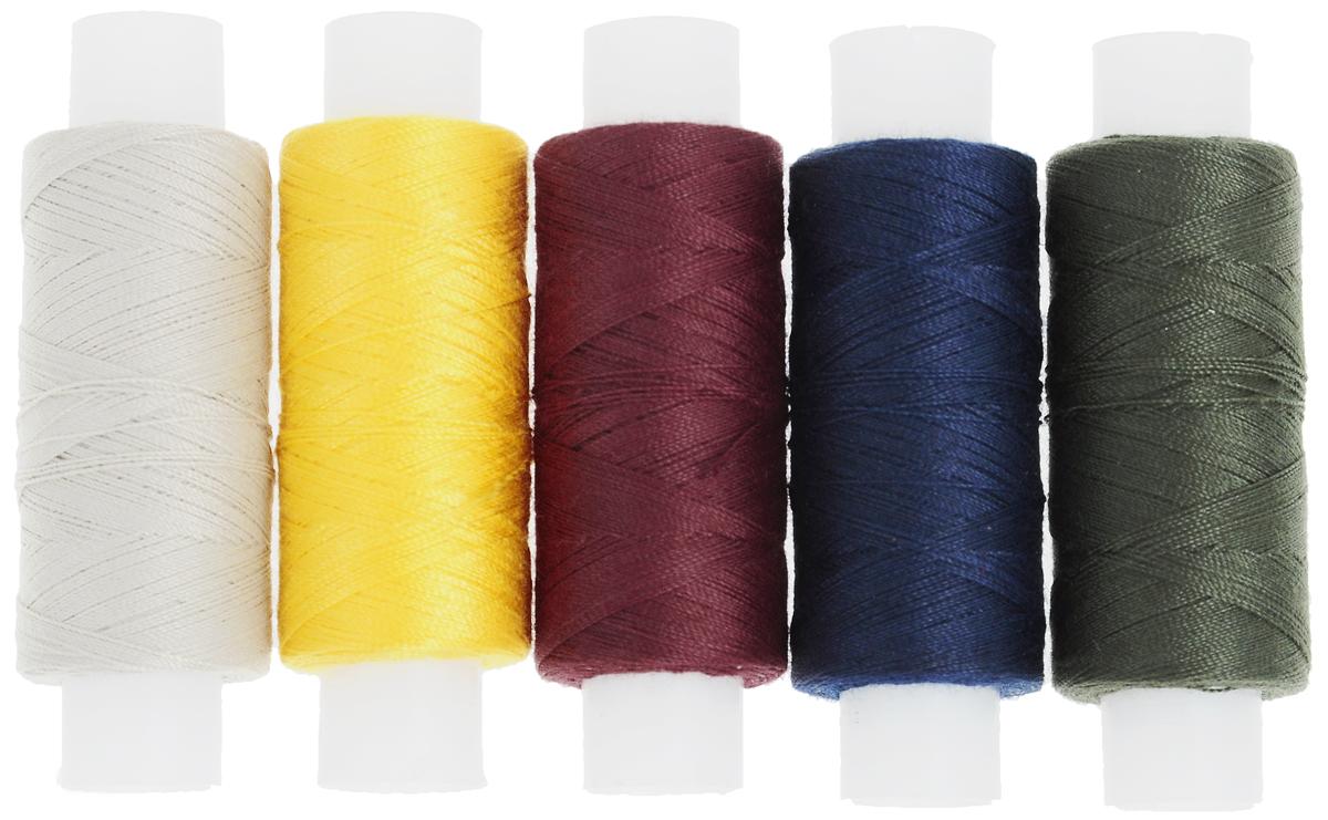 Набор ниток ПНК им. Кирова, цвет: темно-зеленый, темно-синий, бордовый,темно-желтый, бежевый, 150 м, 5 бобин131047_темно-зеленый, темно-синий, бордовый,темно-желтый, бежевыйНабор ПНК им. Кирова состоит из 5 бобин с армированными нитками различных цветов, устойчивых к выцветанию. Универсальная швейная нить в 2 сложения изготовлена из 100% полиэфира. Рекомендуется для вышивки на бытовых швейных машинах, а также для ручной вышивки.