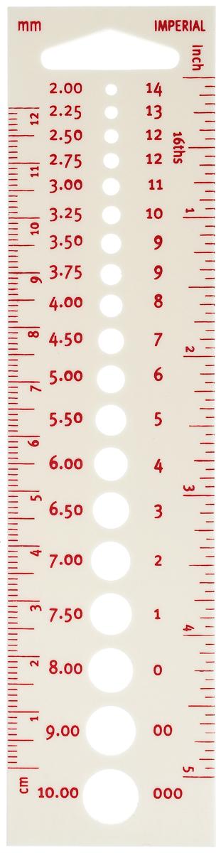 Линейка для измерения диаметра спиц Pony, линейных размеров. 6024460244Линейка для измерения диаметра спиц. Для спиц-крючков 2-10 мм/дюймов. Пластик. Упаковка чехол.