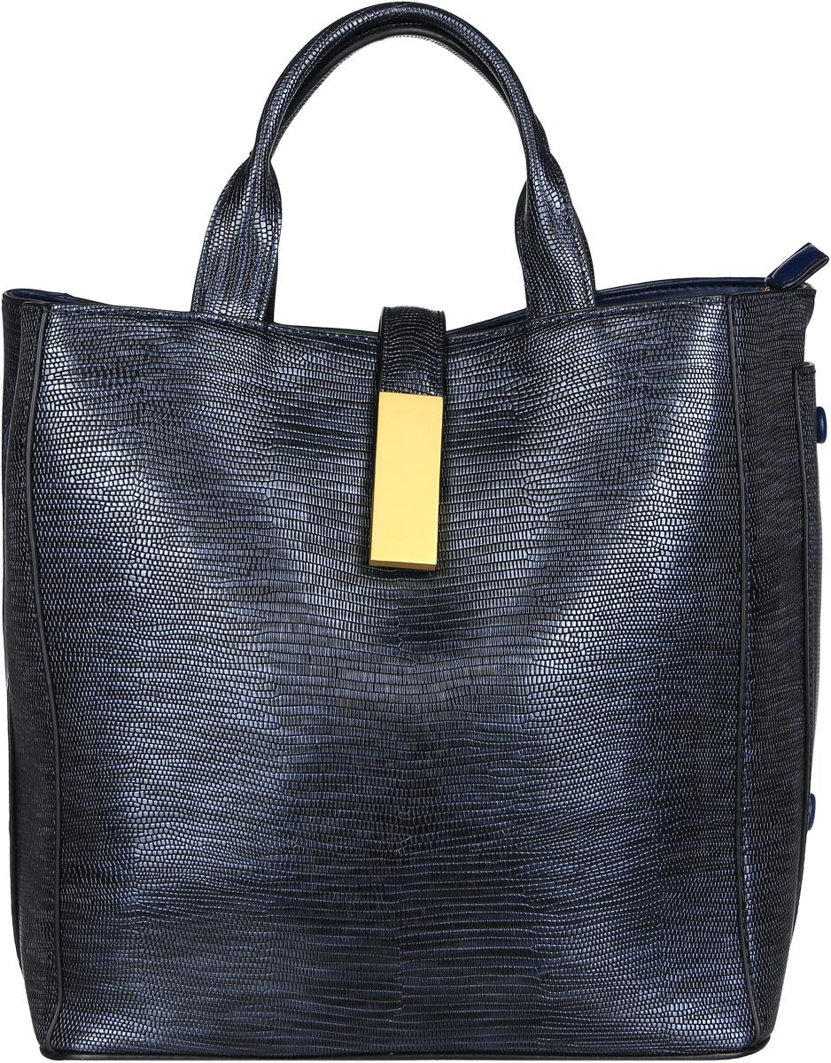 Сумка женская Vitacci, цвет: темно-синий. BD0136BD0136Изысканная женская сумка Vitacci идеально дополнит ваш образ. Она изготовлена из качественной искусственной кожи с тиснением под рептилию и оформлена в оригинальном дизайне. Изделие закрывается на удобную молнию и хлястиками с магнитной кнопкой. Внутри расположено вместительное отделение, разделенное карманом-средником на молнии. Отделение содержит два отрытых накладных кармана для мелочей и один вшитый карман на молнии. Также сумка имеет съемный плечевой ремень регулируемой длины, который позволит носить изделие как в руках, так и на плече. Роскошная и модная сумка внесет элегантные нотки в ваш образ и подчеркнет ваш неповторимый стиль.