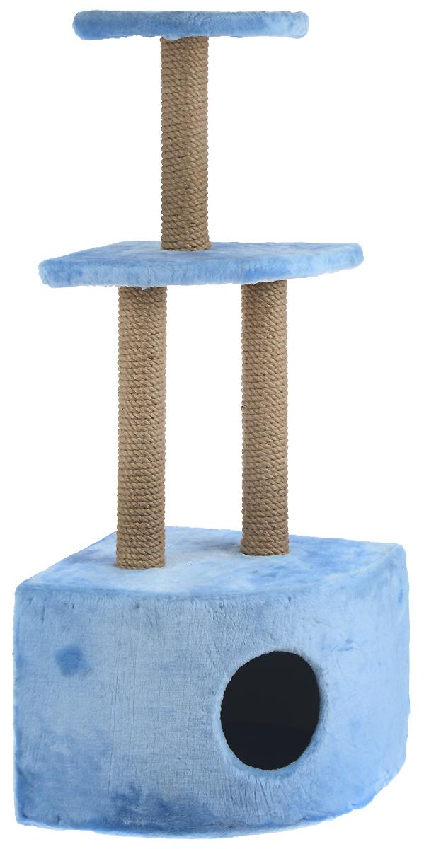 Домик-когтеточка ЗооМарк, угловой, 3-ярусный, цвет: голубой, бежевый, 42 х 42 х 105 см130_голубойДомик-когтеточка ЗооМарк выполнен из высококачественного дерева и обтянут искусственным мехом. Изделие предназначено для кошек. Домик имеет 3 яруса. Ваш домашний питомец будет с удовольствием точить когти о специальные столбики, изготовленные из джута. А отдохнуть он сможет либо на полках, либо в расположенном внизу домике. Общий размер: 42 х 42 х 105 см. Размер домика: 42 х 42 х 31 см. Размер большой полки: 35 х 35 см. Размер малой полки: 25 х 25 см.