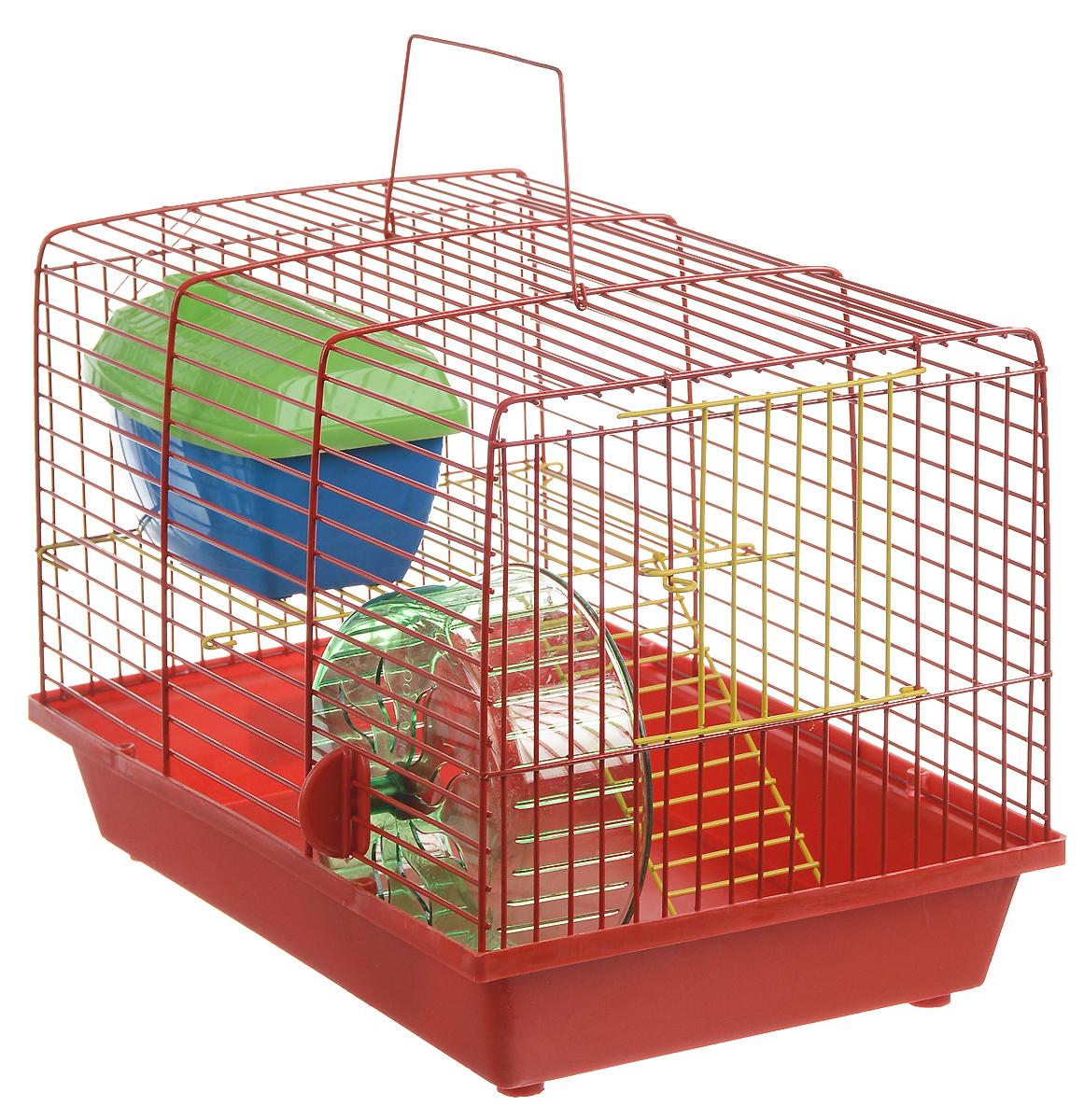 Клетка для грызунов ЗооМарк, 2-этажная, цвет: красный поддон, красная решетка, желтый этаж, 36 х 22 х 24 см. 125ж125ж_красныйКлетка ЗооМарк, выполненная из полипропилена и металла, подходит для мелких грызунов. Изделие двухэтажное, оборудовано колесом для подвижных игр и пластиковым домиком. Клетка имеет яркий поддон, удобна в использовании и легко чистится. Сверху имеется ручка для переноски. Такая клетка станет уединенным личным пространством и уютным домиком для маленького грызуна.