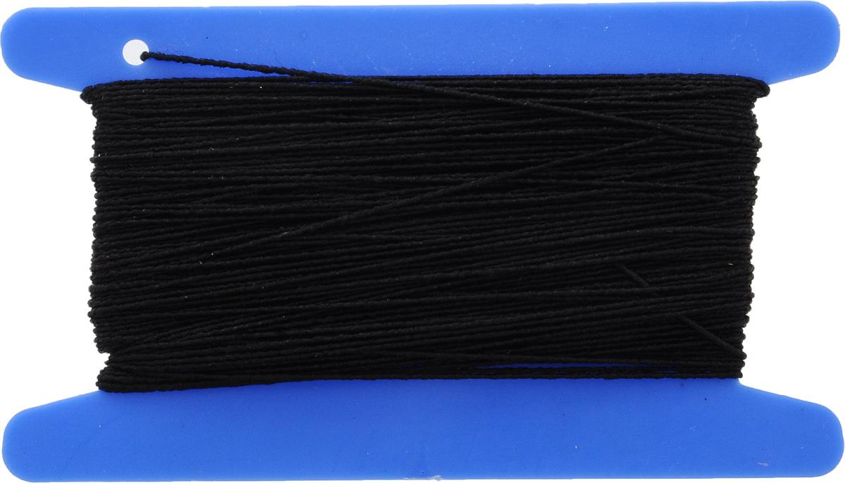 Резинка вязальная Pony, цвет: черный, 0,4 мм х 20 м53302Резинка вязальная Pony представляет собой тонкий шнур высокой эластичности, благодаря входящим в его состав латексным нитям. Такая резинка используется при пошиве и ремонте одежды, галантереи.