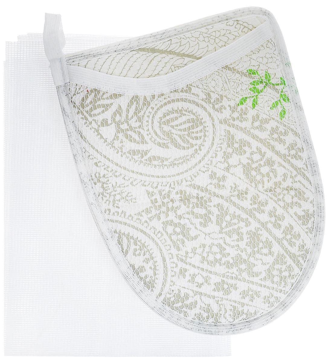 Набор для глажения Eva, цвет: серый, белый, серебристый, 2 предметаЕ381_серый, белый, серебристыйНабор для глажения Eva защитит одежду от повреждений при глажении. Состоит из варежки с термостойким алюминиевым напылением и сетки для глажения. Варежка поможет отутюжить ваши вещи в труднодоступных местах. При изготовлении варежки используется материал, не пропускающий тепло. Сетка для глажения защищает одежду от повреждений при утюжке, заменяет марлю, используется при режиме отпаривания, незаменима для оформления стрелок на брюках, препятствует образованию блестящих следов. Размер варежки: 15 х 21 см. Размер сетки: 40 х 75 см.