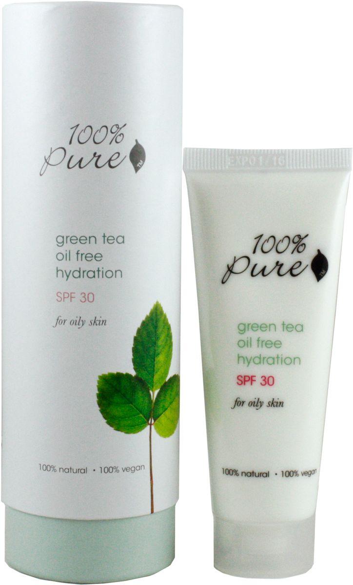 100% Pure Зеленый чай увлажняющий лосьон, 50 мл1FMGTOFHSPF30ОБезжиренный, увлажняющий крем с SPF 30 защищает вашу кожу от солнечных UVA и UVB лучей. Помогает предупредить возможный риск развития рака кожи, морщин и пигментных пятен. Органический зеленый чай смягчает и успокаивает кожу в то время как травы сохраняют цвет и молодость кожи лица.