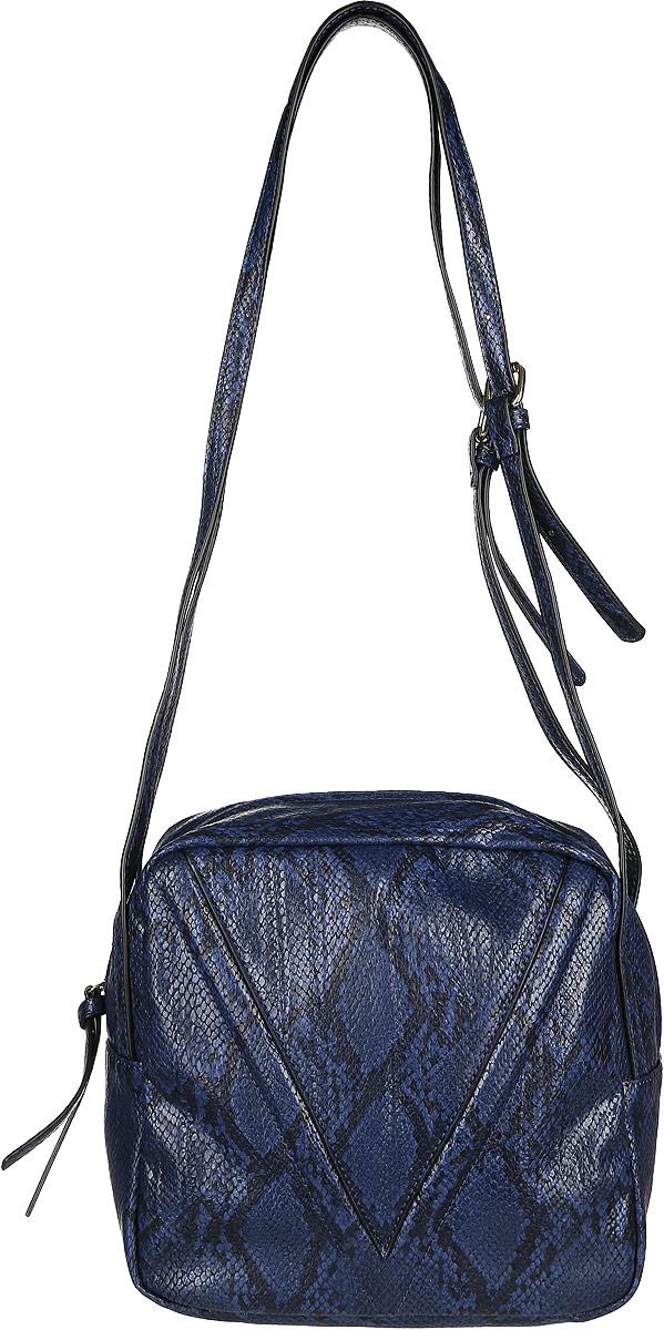 Сумка женская Vitacci, цвет: темно-синий. BD0158BD0158Изысканная женская сумка Vitacci идеально дополнит ваш образ. Она изготовлена из качественной искусственной кожи с тиснением под рептилию. Сумка оформлена оригинальной нашивкой и закрывается на удобную молнию. Внутри расположено одно вместительное отделение, которое содержит два накладных открытых кармана для телефона и мелочей и один вшитый карман на молнии. Сумка оснащена двумя плечевыми ремнями, длина которых регулируется с помощью пряжек. Роскошная сумка внесет элегантные нотки в ваш образ и подчеркнет ваш неповторимый стиль.