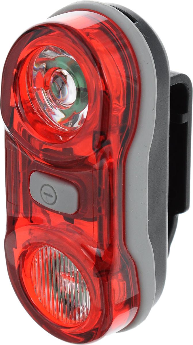 Фонарь велосипедный D-Light CG-405R, габаритный, задний, цвет: черный, серый, красныйCG-405R-BlackПередний габаритный велофонарь D-Light CG-405R предназначен для обеспечения большей безопасности при поездках в темное время суток. Он легко крепится и снимается без дополнительных инструментов. Корпус изделия выполнен из прочного пластика. Фонарь имеет 3 режима: мигание, постоянное свечение и Chasing. Chasing это режим, при котором лампочки загораются последовательно. Фонарь водонепроницаем, оснащен 2 светодиодами мощностью по 0,5 Вт. Фонарь питается от 2 батарей типа AAA (входят в комплект). Время свечения: 4+ ч. Время мигания: 21+ ч. Время в режиме Chasing: 124 ч. Размер фонаря (без учета креплений): 7,5 х 3,1 х 2,7 см.