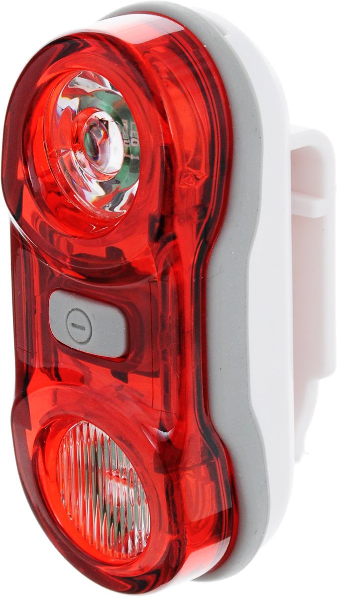 Фонарь велосипедный D-Light CG-405R, габаритный, задний, цвет: белый, серый, красныйCG-405R-WhiteЗадний габаритный велофонарь D-Light CG-405R предназначен для обеспечения большей безопасности при поездках в темное время суток. Он легко крепится и снимается без дополнительных инструментов. Корпус изделия выполнен из прочного пластика. Фонарь имеет 3 режима: мигание, постоянное свечение и Chasing. Chasing это режим, при котором лампочки загораются последовательно. Фонарь водонепроницаем, оснащен 2 светодиодами мощностью по 0,5 Вт. Фонарь питается от 2 батарей типа AAA (входят в комплект). Время свечения: 4+ ч. Время мигания: 21+ ч. Время в режиме Chasing: 124 ч. Размер фонаря (без учета креплений): 7,5 х 3,1 х 2,7 см.