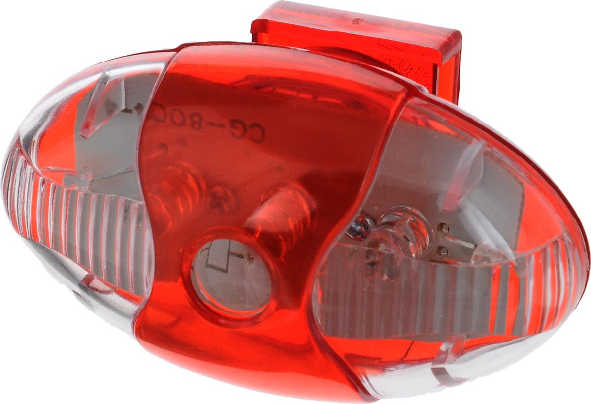 Фонарь велосипедный D-Light CG-845R1, габаритный, задний, цвет: красный, прозрачныйCG-845R1Задний габаритный велофонарь D-Light CG-845R1 предназначен для обеспечения большей безопасности при поездках в темное время суток. Он легко крепится и снимается без дополнительных инструментов. Водонепроницаемый корпус изделия выполнен из прочного пластика. Фонарь имеет 4 режима: мигание, постоянное свечение, Chasing и Random. Chasing это режим, при котором лампочки загораются последовательно. В режиме Random диоды загораются произвольно. Фонарь питается от 1 батареи типа CR2032 (входит в комплект). Время свечения: 50 ч. Время мигания: 70 ч. Время в режиме Chasing: 120 ч. Время в режиме Random: 120 ч. Размер фонаря (без учета креплений): 5,8 х 3,2 х 2,7 см.