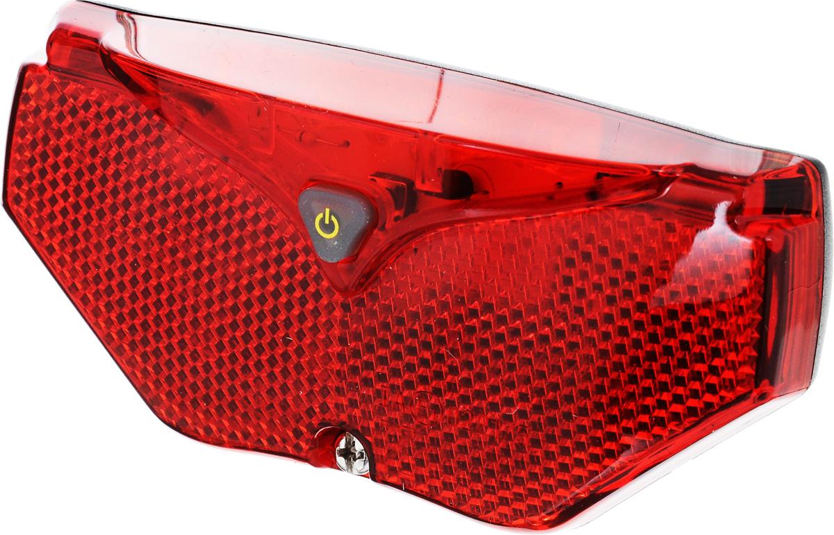 Задний велосипедный фонарь D-Light CG-409R1CG-409R1Лампа с 5 красными светодиодами и отражателем для велосипедного багажника Евростандарт IA 022175 ; Индикатор низкого заряда батареи ; Водонепроницаемый Тип батареи- LR6 (AA) x 2; Время свечения: 180 ч; Время мигания: 320 ч; Тип лампочки: Пять красных светодиодных ламп