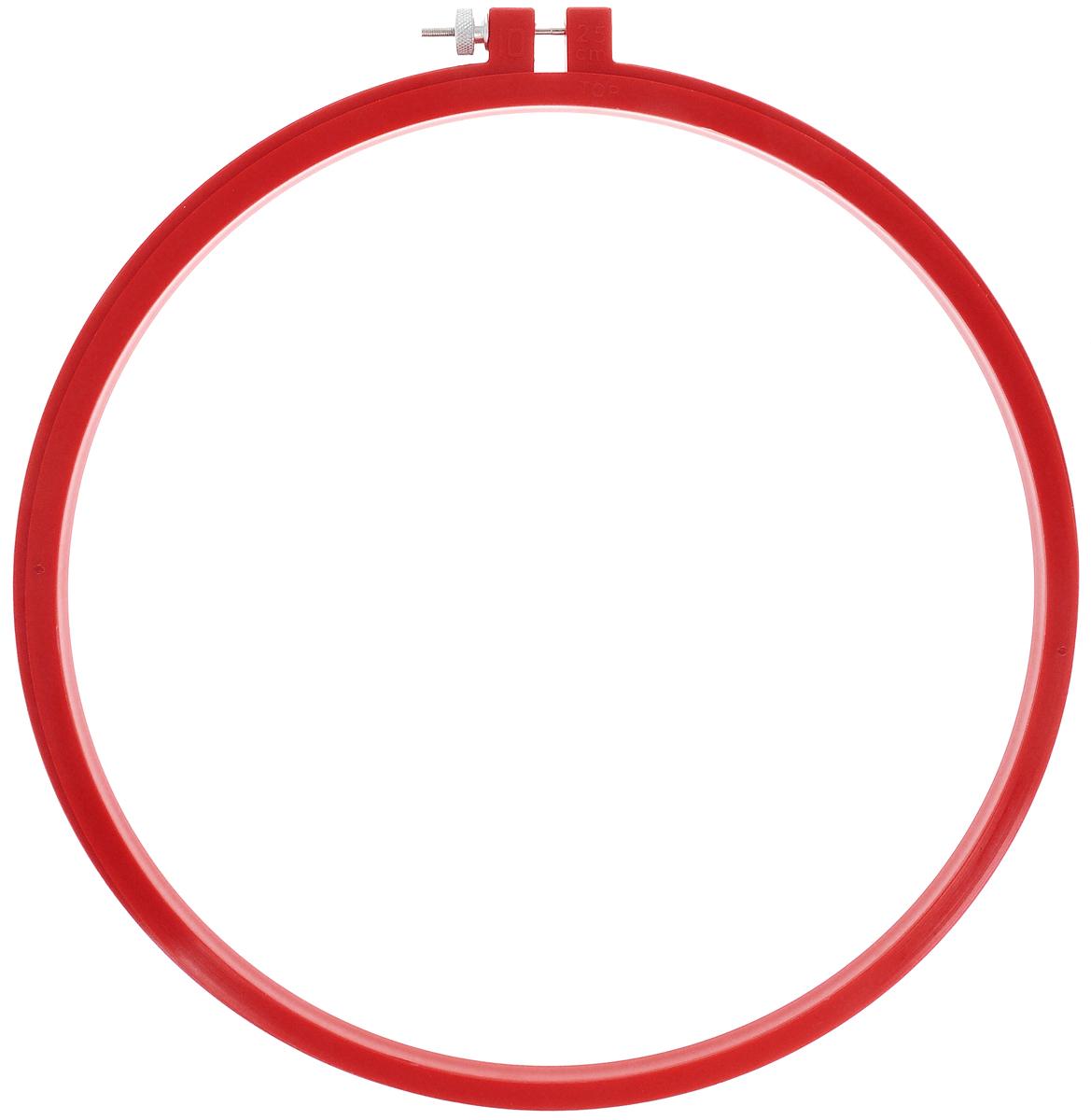 Пяльцы для вышивания Pony, цвет: красный, диаметр 25 см87808Пяльцы просто незаменимы для вышивки. Их основное назначение - держать материал в натянутом состоянии. Круглые пяльцы обычно употребляют в том случае, если размер вышивки небольшой. С помощью винта можно регулировать натяжение ткани в зависимости от ее плотности. Работа, сделанная своими руками, создаст особый уют и атмосферу в доме и долгие годы будет радовать вас и ваших близких. А подарок, выполненный собственноручно, станет самым ценным для друзей и знакомых.