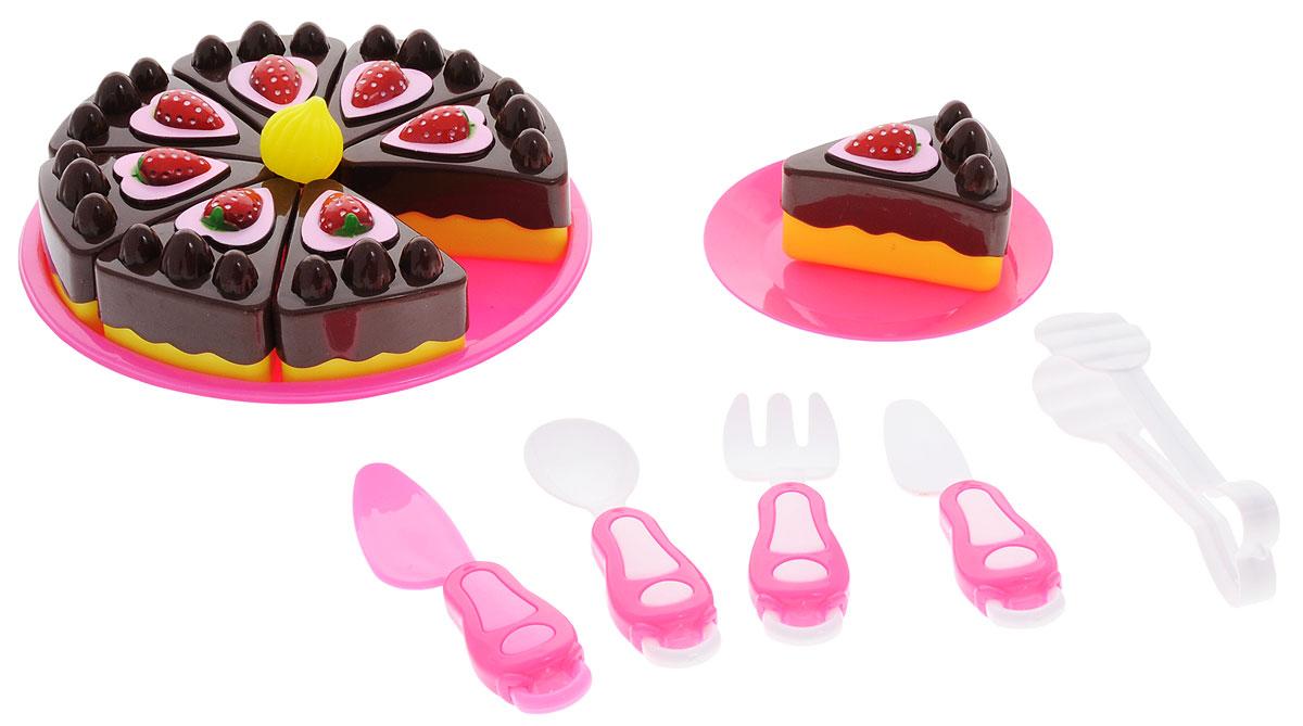 ABtoys Игрушечный набор Маленький кондитер 7 предметовPT-00360Игрушечный набор ABtoys Маленький кондитер включает в себя кусочки игрушечного торта, тарелку, вилку, нож, ложку, лопатку для торта и зажим. Все элементы набора выполнены из безопасного для ребенка материала. Если собрать все кусочки воедино, то получится целый торт! Торт украшен элементами фруктов в виде клубники. Используя нож, ребенок будет сам разрезать торт и угощать гостей. С таким набором ребенок будет воспитывать такие качества, как гостеприимство и хозяйственность.