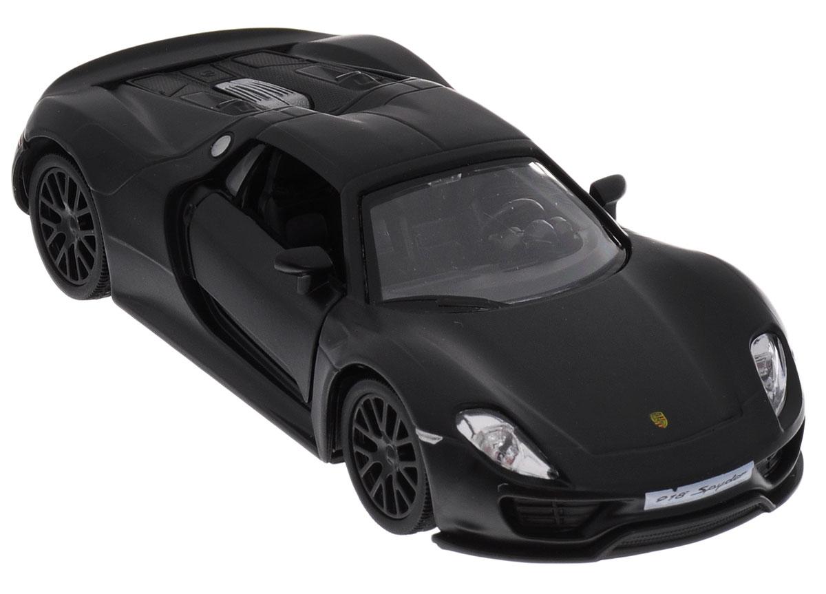 Uni-Fortune Toys Модель автомобиля Porsche 918 Spyder цвет черный554030MМодель автомобиля Uni-Fortune Toys Porsche 918 Spyder будет отличным подарком как ребенку, так и взрослому коллекционеру. Благодаря броской внешности и великолепной точности автомобиль станет подлинным украшением любой коллекции авто. Модель выполнена в масштабе 1/32. Модель будет долго служить своему владельцу благодаря металлическому корпусу с элементами из пластика. Передние двери машины открываются. Машинка обладает инерционным механизмом, ее необходимо отвести назад, затем отпустить - и она быстро поедет вперед. Шины обеспечивают отличное сцепление с любой поверхностью пола. Модель автомобиля обязательно понравится вашему ребенку и станет достойным экспонатом любой коллекции.