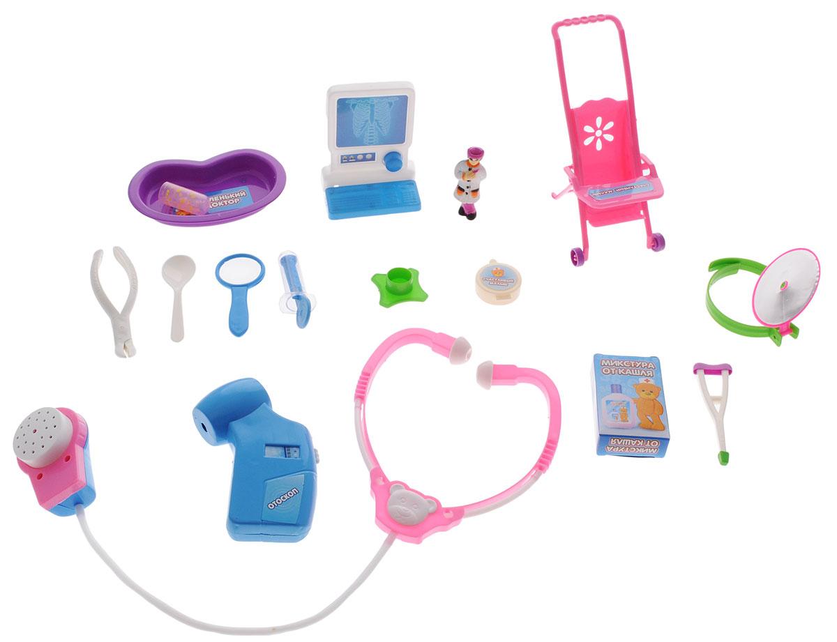 ABtoys Игрушечный набор Маленький докторPT-00116(3286C)Игрушечный набор ABtoys Маленький доктор поможет ребятишкам устраивать веселые сюжетно-ролевые игры, в которых они почувствуют себя настоящими врачами. Играя в больницу, выполняя роли докторов, медсестер и пациентов, дети учатся заботиться, ухаживать за больными, узнают простейшие основы медицины, учатся общаться, развивают свой кругозор и словарный запас, обмениваются опытом и знаниями. В набор входят микстура от кашля, рентгеновский аппарат, мазь, шприц, ложка, лупа, костыль, фигурка доктора, пробирка, колпачок, лоток, отоскоп, коляска, стетоскоп, рефлектор, стоматологический зажим.