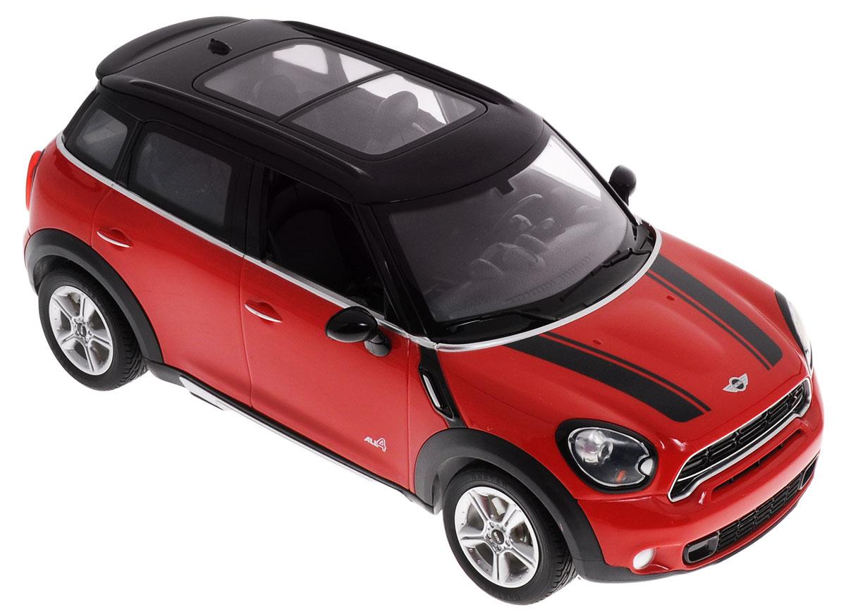 Rastar Радиоуправляемая модель Mini Cooper S Countryman цвет красный масштаб 1:1472500Радиоуправляемая модель Rastar Mini Cooper S Countryman невероятно точно повторяет роскошный силуэт настоящего автомобиля. Маневренная и реалистичная выполнена в точной детализации с настоящим автомобилем в масштабе 1:14. Управление машиной происходит с помощью пульта. Модель двигается вперед и назад, поворачивает направо и налево. Имеются световые эффекты. Колеса игрушки прорезинены и обеспечивают плавный ход, машинка не портит напольное покрытие. Радиоуправляемые игрушки способствуют развитию координации движений, моторики и ловкости. Ваш ребенок увлеченно будет играть с моделью, придумывая различные истории и устраивая соревнования. Машина работает от 5 батареек напряжением 1,5V типа АА (не входят в комплект). Пульт управления работает от батарейки 9V типа Крона (не входит в комплект). Пульт управления работает на частоте 27 MHz.