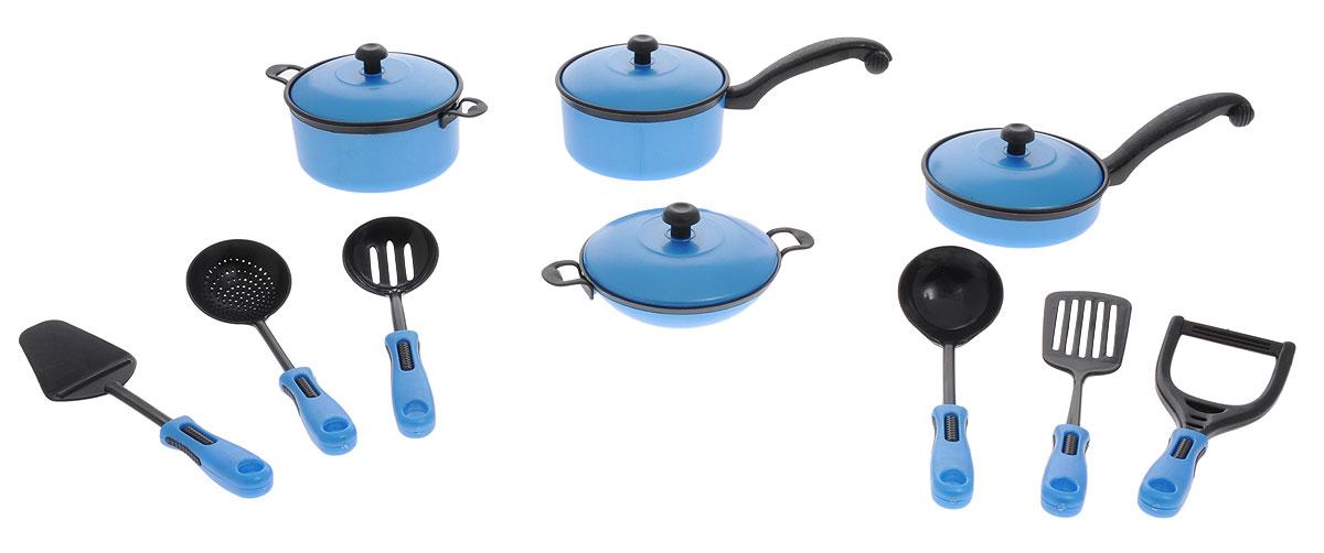 ABtoys Игрушечный кухонный набор цвет синий черный 10 предметовPT-00200Игрушечный кухонный набор ABtoys прекрасно подойдет ребенку для веселых игр. Набор включает в себя посуду, которая находится на любой кухне. Предметы набора выполнены из высококачественного и безопасного пластика. В состав набора входят: 2 кастрюли с крышками, 2 сковороды с крышками и 6 кухонных приборов. Такой набор станет прекрасным дополнением к игровой ситуации с приглашением гостей.