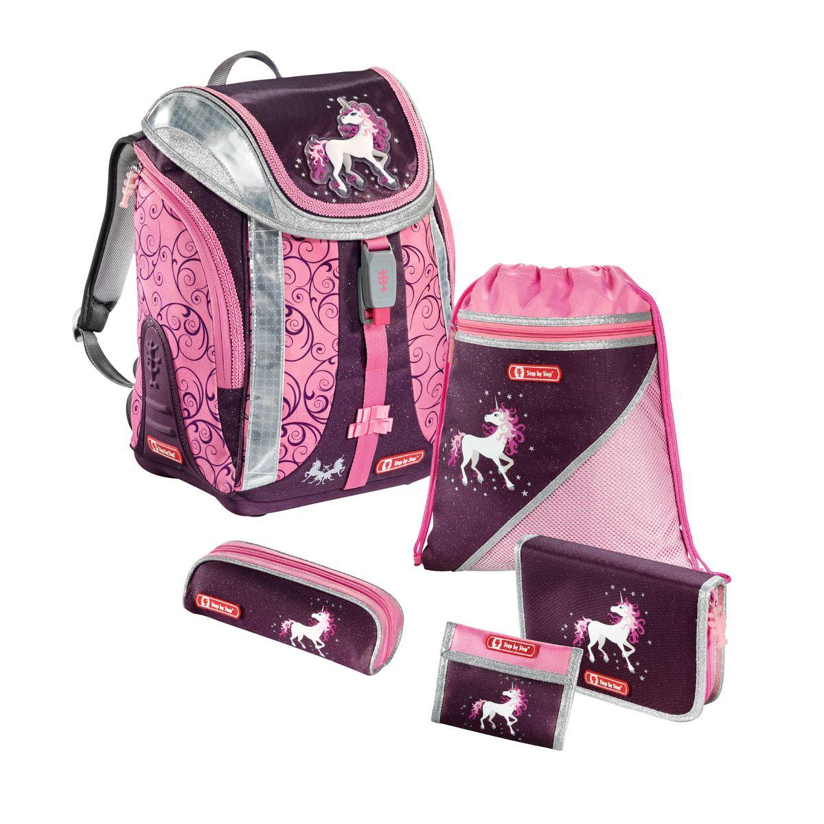 Hama Ранец школьный Step By Step Flexline Unicorn с наполнением119706Ранец Step By Step Flexline Unicorn полиэстер фиолетовый/розовый Наполнение: пенал с наполнением, пенал, кошелек, мешок для сменки