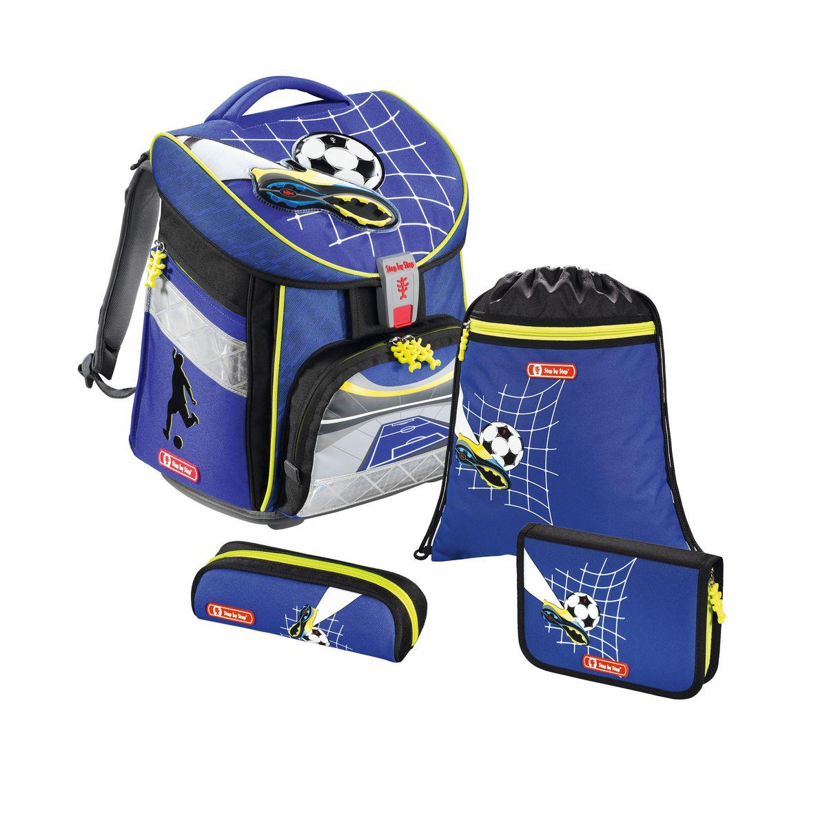 Hama Ранец школьный Step By Step Comfort Top Soccer с наполнением129107Ранец Step By Step Comfort Top Soccer полиэстер синий/рисунок