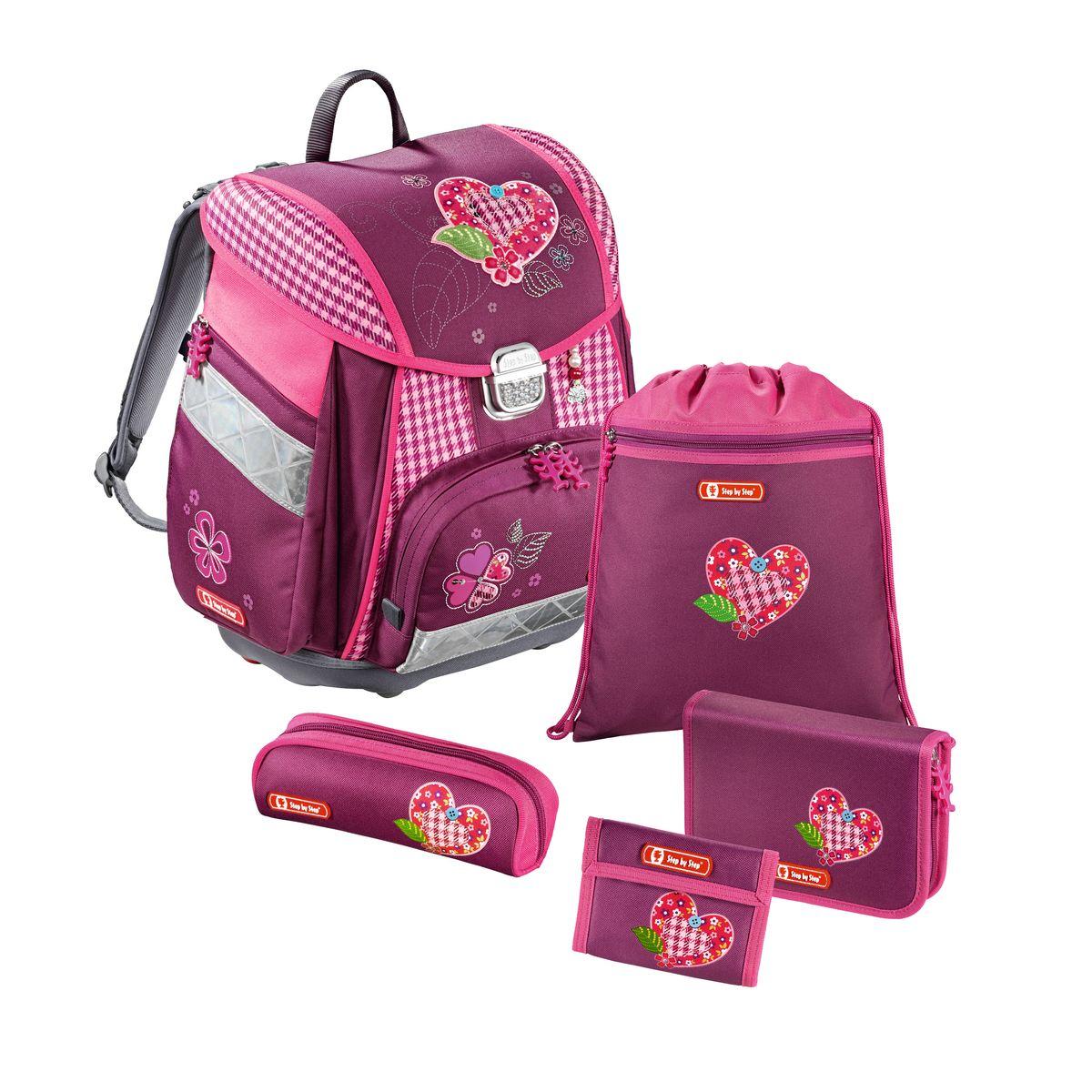 Hama Ранец школьный Step By Step Touch Tweedy Hearts с наполнением129086Ранец Step By Step Touch Tweedy Hearts полиэстер розовый/рисунок Наполнение: пенал с наполнением, пенал, кошелек, мешок для сменки