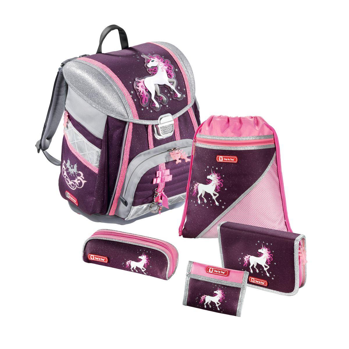 Hama Ранец школьный Step By Step Touch Unicorn с наполнением129090Ранец Step By Step Touch Unicorn полиэстер фиолетовый/розовый Наполнение: пенал с наполнением, пенал, кошелек, мешок для сменки