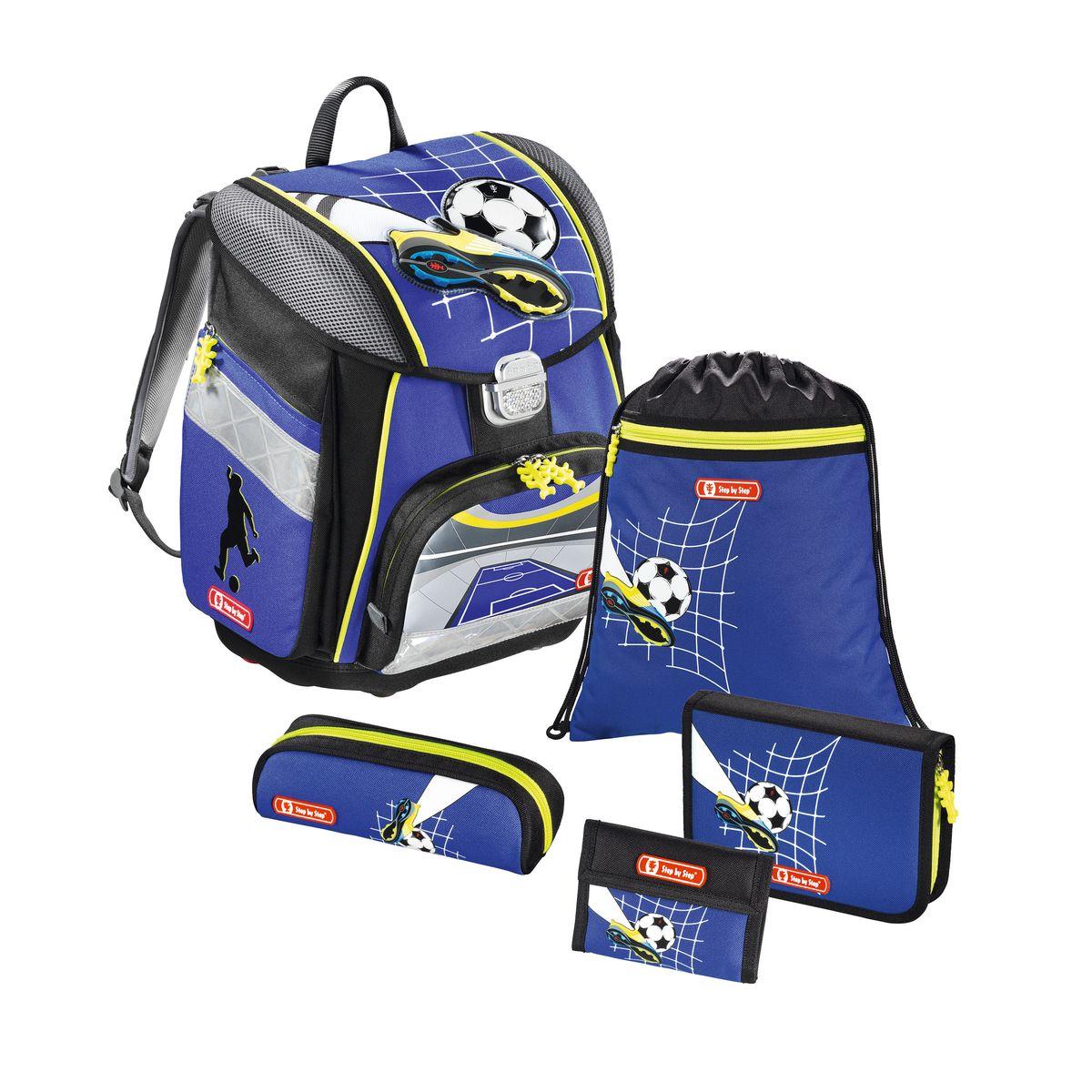Hama Ранец школьный Step By Step Touch Top Soccer с наполнением129105Ранец Step By Step Touch Top Soccer полиэстер синий/рисунок Наполнение: пенал с наполнением, пенал, кошелек, мешок для сменки