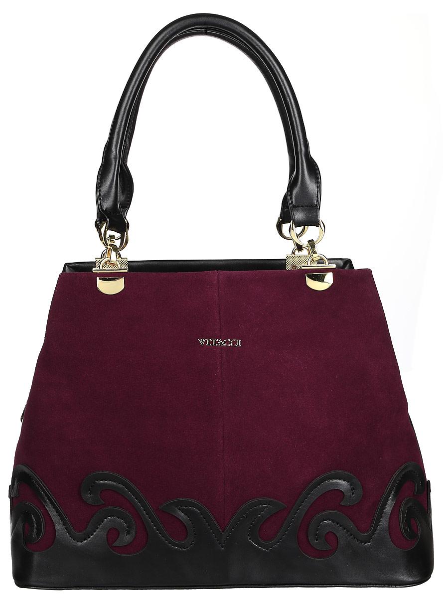 Сумка женская Vitacci, цвет: бордовый, черный. V1127V1127Изысканная женская сумка Vitacci идеально дополнит ваш образ. Она выполнена из натуральной замши, комбинированной с искусственной кожей. Сумка оформлена нашивкой в виде узора и пластинкой с названием фирмы. Изделие закрывается на удобную молнию. Внутри расположено вместительное отделение, которое разделяет карман-средник на молнии. Также внутри находятся один небольшой карман на молнии и два открытых кармана для телефона и мелочей. Роскошная и оригинальная сумка внесет элегантные нотки в ваш образ и подчеркнет ваш неповторимый стиль.