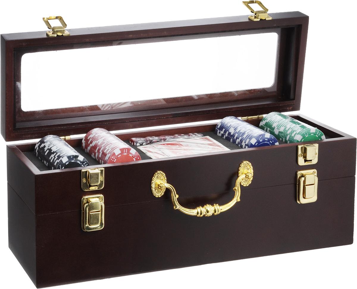 Набор подарочный Феникс-Презент. 4068440684Набор подарочный Феникс-Презент включает колоду игральных карт, 5 игральных костей и 100 фишек разных цветов. Предметы набора хранятся в элегантной деревянной шкатулке с ручкой для переноски. Шкатулка имеет два отделения: верхнее предназначено для хранения аксессуаров для покера, а нижнее - для бутылки вина. Отделения закрываются на замки-защелки. Такой набор станет приятным и практичным подарком к любому празднику. Идеальный подарок для всех ценителей покера. Размер колоды: 9 х 6,5 х 2 см. Размер игральной кости: 1,7 х 1,7 х 1,7 см. Диаметр фишки: 4 см. Максимальная длина бутылки вина: 36 см. Размер шкатулки: 37,8 х 11,8 х 14,5 см.