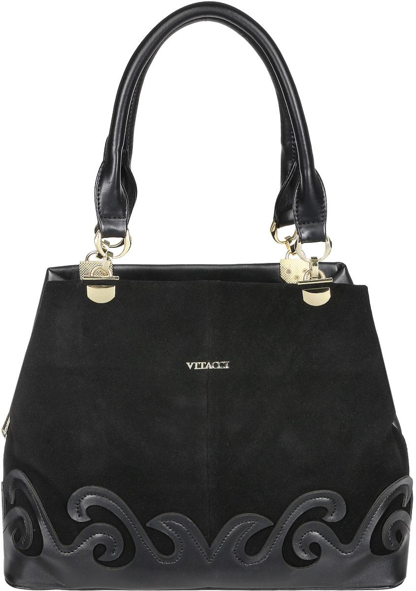Сумка женская Vitacci, цвет: черный. V1126V1126Изысканная женская сумка Vitacci идеально дополнит ваш образ. Она выполнена из натуральной замши, комбинированной с искусственной кожей. Сумка оформлена нашивкой в виде узора и пластинкой с названием фирмы. Изделие закрывается на удобную молнию. Внутри расположено вместительное отделение, которое разделяет карман-средник на молнии. Также внутри находятся один небольшой карман на молнии и два открытых кармана для телефона и мелочей. Роскошная и оригинальная сумка внесет элегантные нотки в ваш образ и подчеркнет ваш неповторимый стиль.