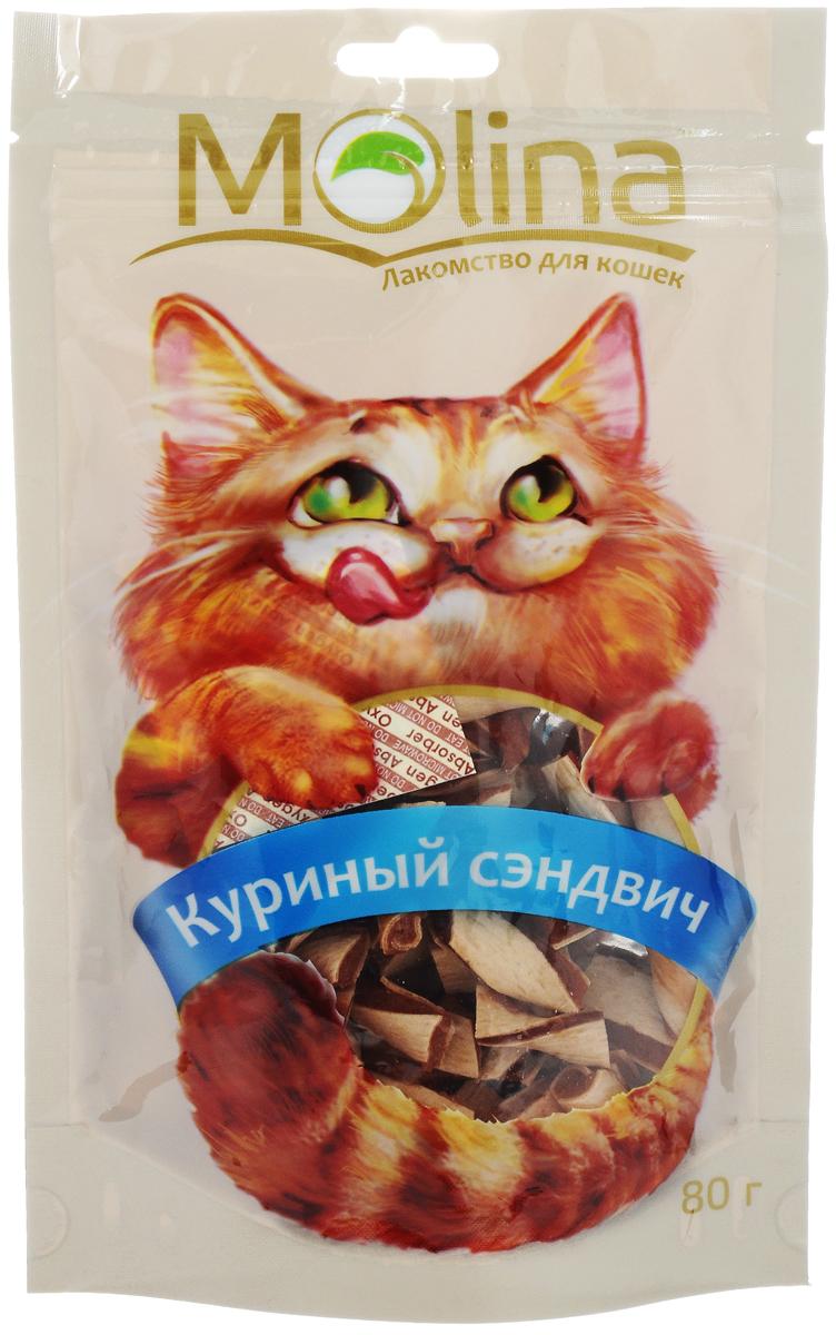 Лакомство для кошек Molina Куриный сэндвич, 80 г4620002670597Лакомство для кошек Molina Куриный сэндвич понравится даже самой привередливой кошке. Изготовлено из 100% натуральных мясных ингредиентов. Особенности: - Очищает зубы и предотвращает образование зубного камня. - Содержит жирные кислоты и таурин для здоровой и блестящей шерсти. - Обогащено всеми необходимыми витаминами и минералами. - Благодаря зипперной застежке лакомство надолго остается свежим. Товар сертифицирован.