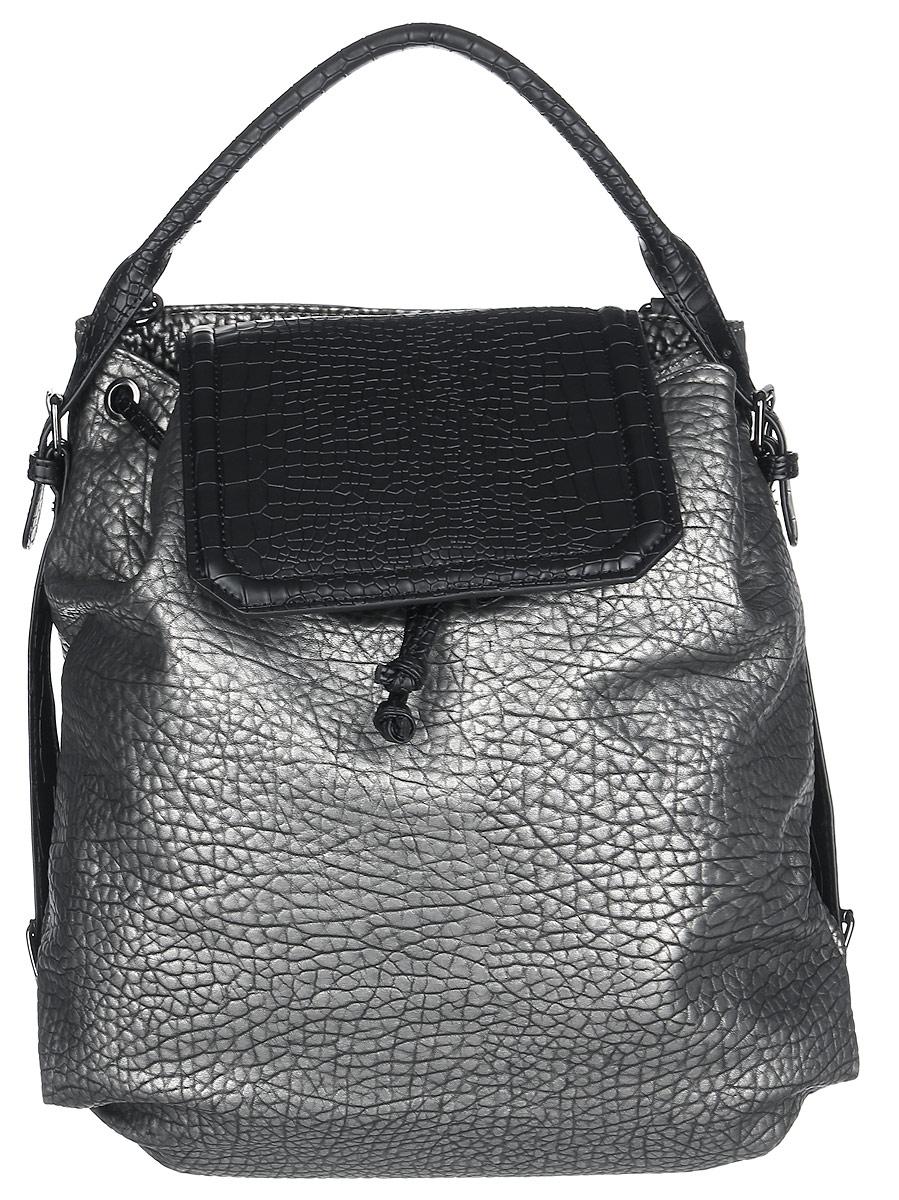 Сумка-рюкзак женская Vitacci, цвет: серебряный, черный. BD0199BD0199Стильная женская сумка-рюкзак Vitacci идеально дополнит ваш образ. Она изготовлена из качественной искусственной кожи с тиснением под рептилию и оформлена в оригинальном дизайне. Изделие закрывается клапаном на кнопку с магнитом. На тыльной стороне расположен вшитый карман, который закрывается на магнитную кнопку. Внутри находится одно отделение, которое содержит два открытых накладных кармана для телефона и мелочей и один вшитый карман на молнии. Сумка-рюкзак оснащена съемными лямками, фиксирующимися на замки-карабины. С их помощью сумку можно носить на спине как рюкзак. такая оригинальная и стильная сумка-рюкзак подчеркнет ваш неповторимый образ.